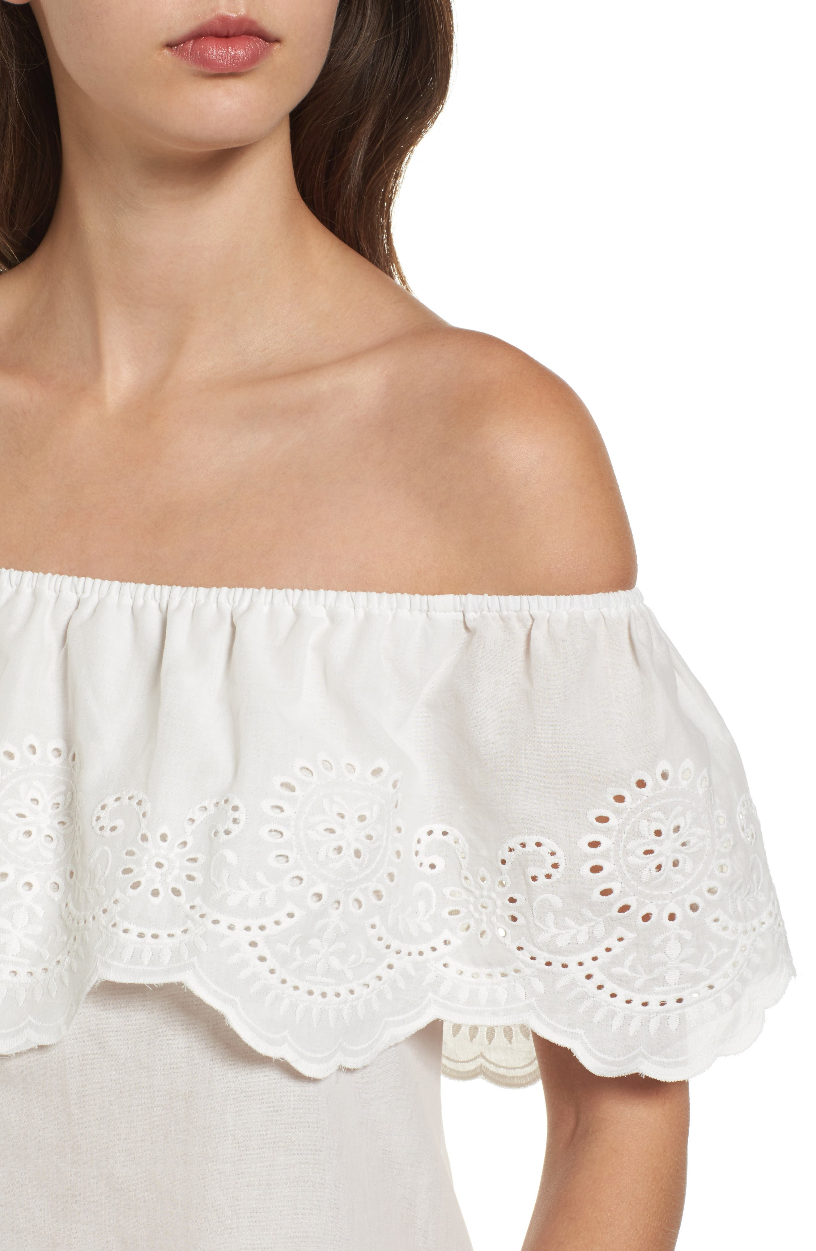 Alternate Image 4  - BP. Eyelet Ruffle Off the Shoulder Top