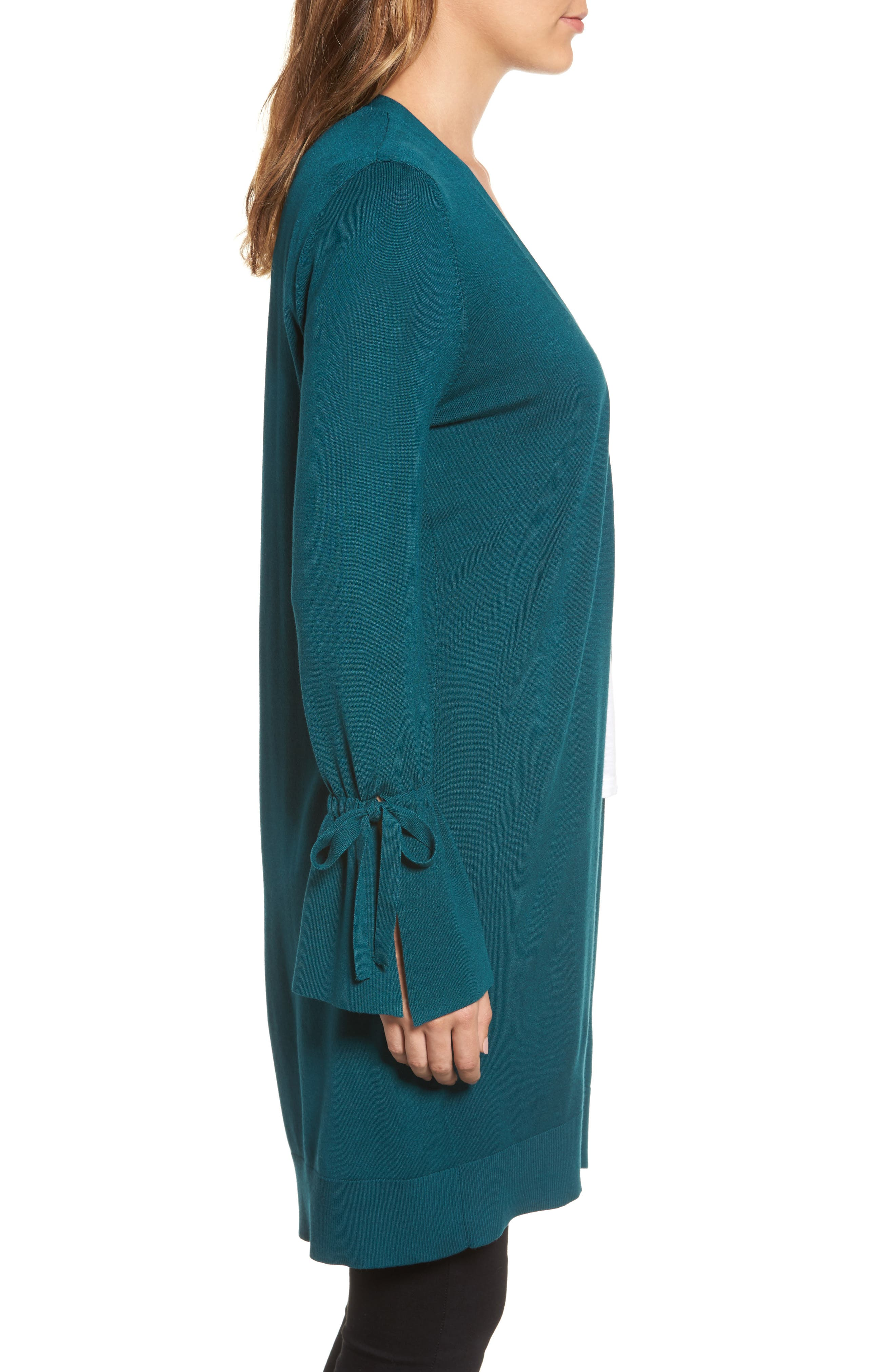 Alternate Image 3  - Halogen® Lightweight Tie Sleeve Cardigan