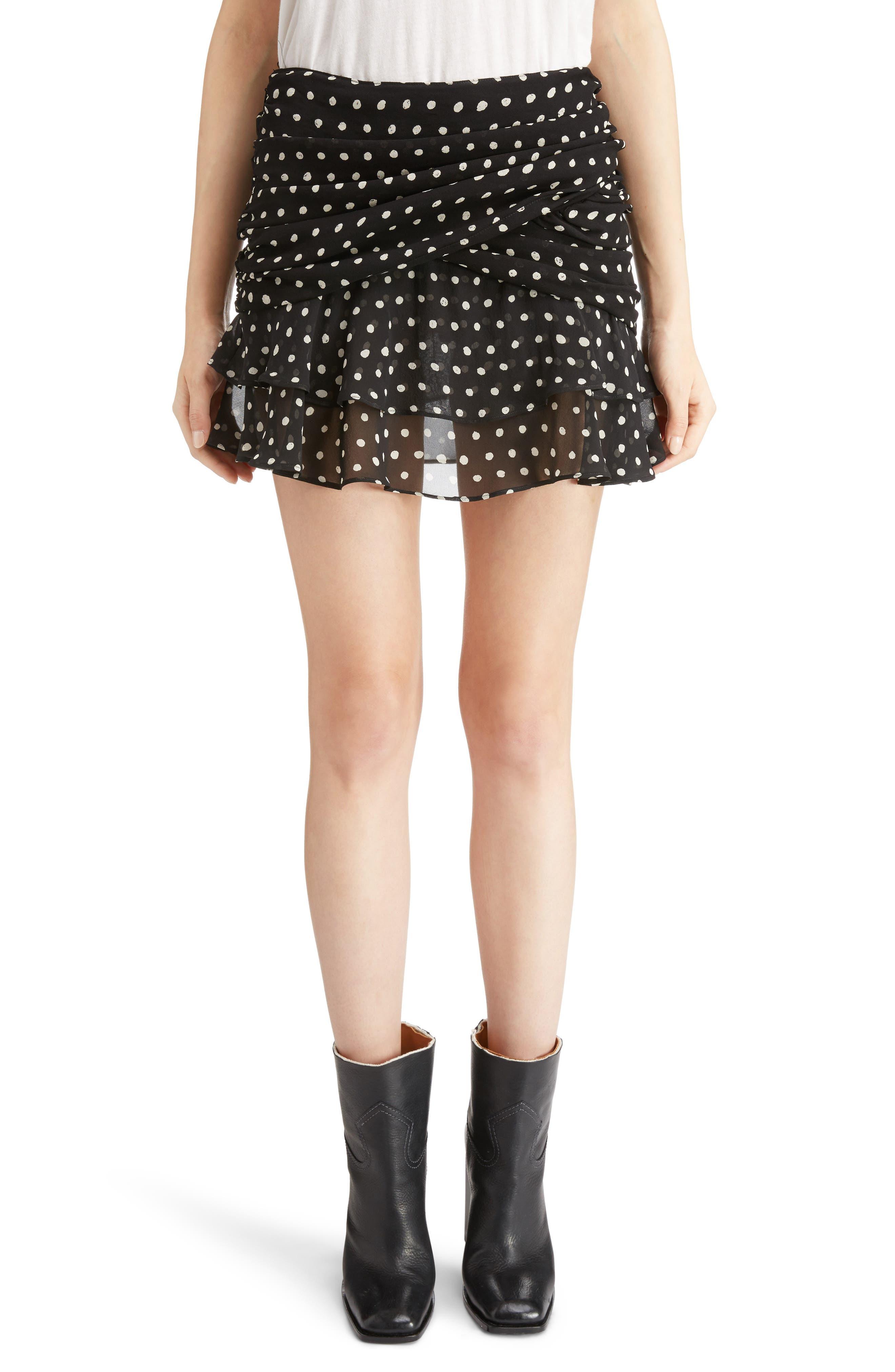 Saint Laurent Lipstick Dot Ruffle Miniskirt