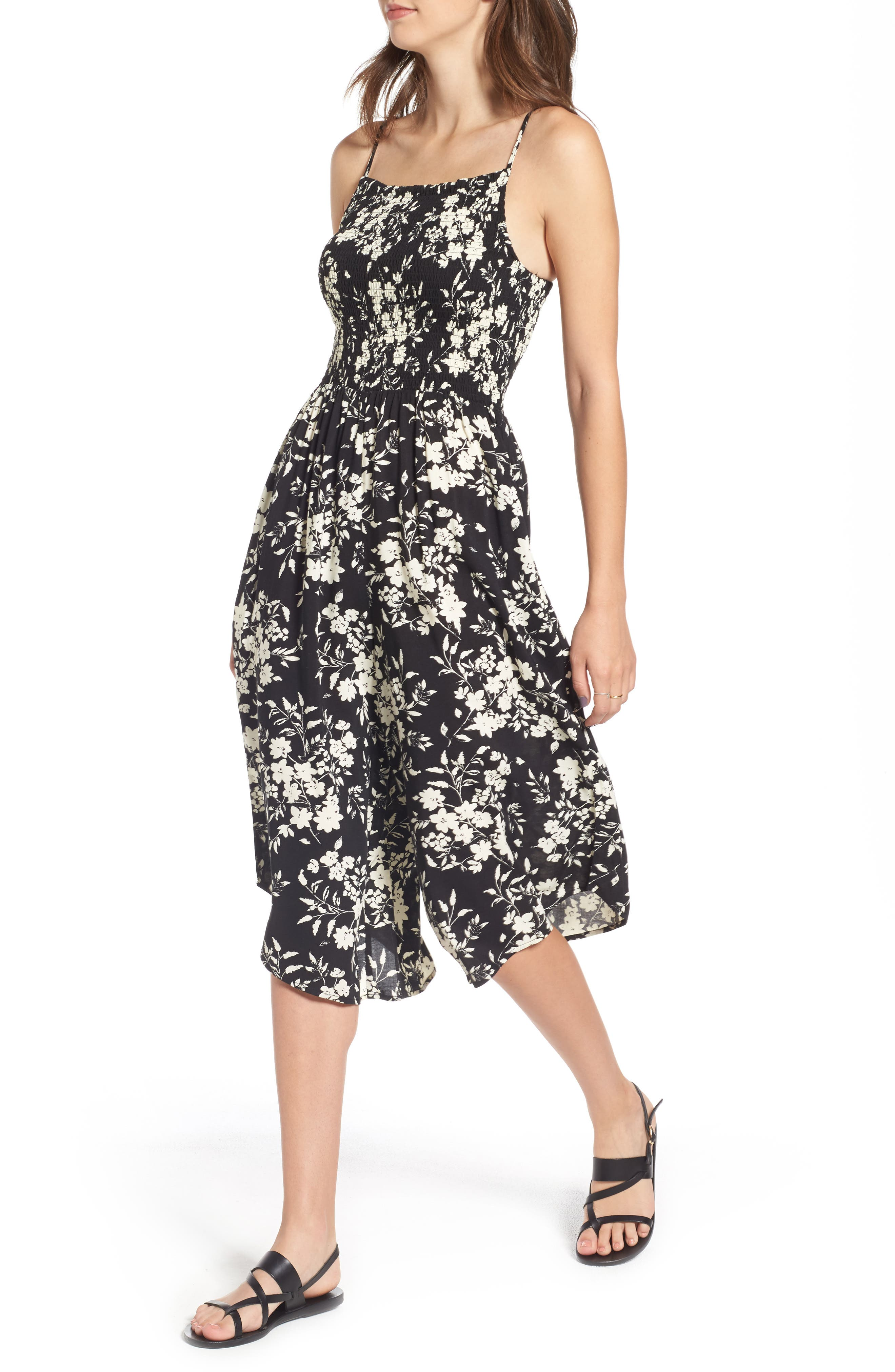 Alternate Image 4  - Mimi Chica Smocked Floral Jumpsuit