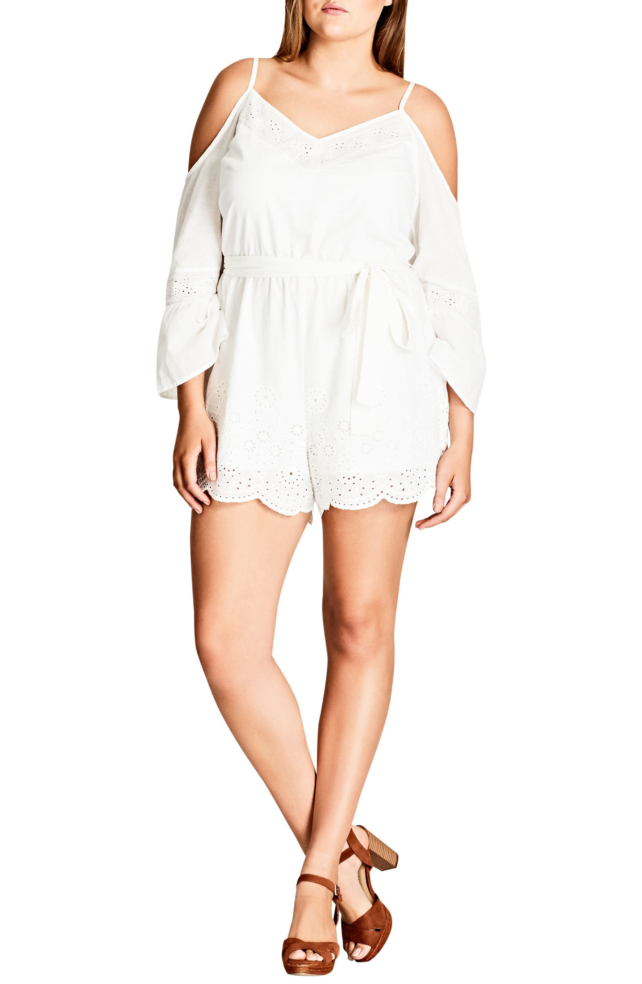 City Chic Innocence Cotton Off the Shoulder Romper (Plus Size)