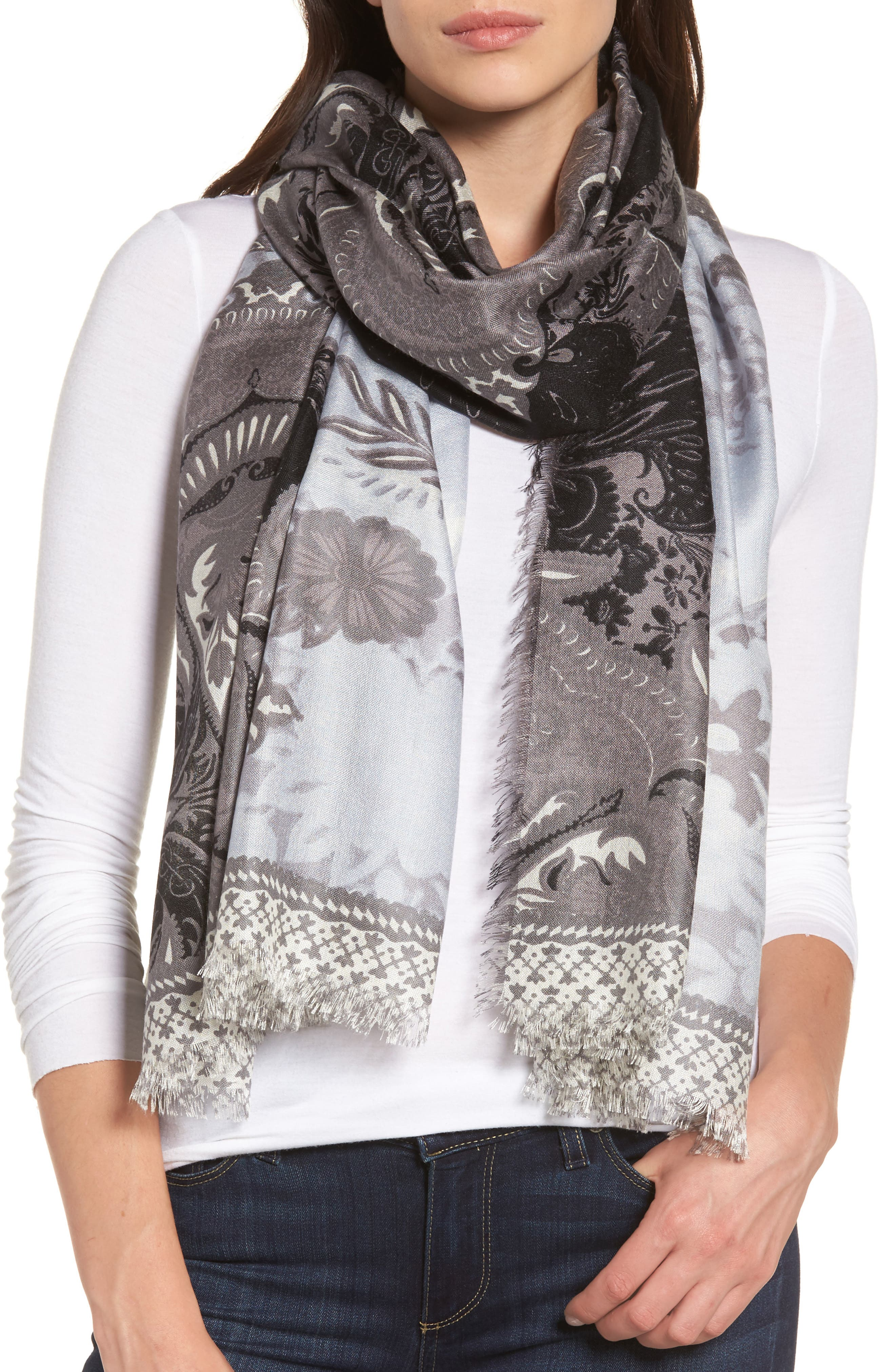 Nordstrom Bohemian Paisley Cashmere & Silk Scarf