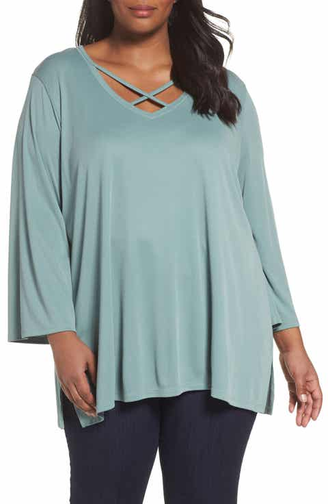 Sejour Cross Front Bell Sleeve Top (Plus Size)