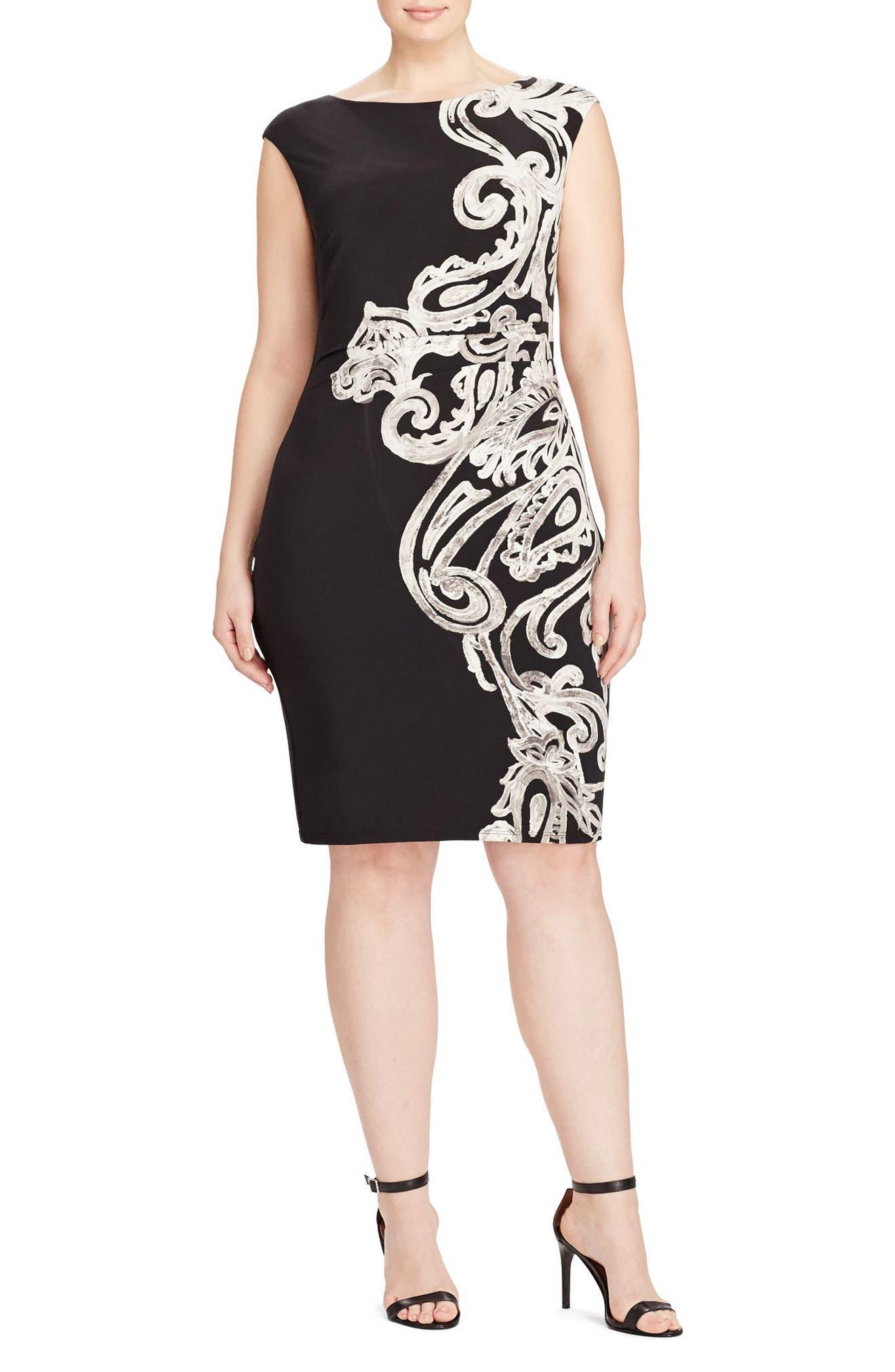 Lauren Ralph Lauren Placed Print Jersey Sheath Dress (Plus Size)