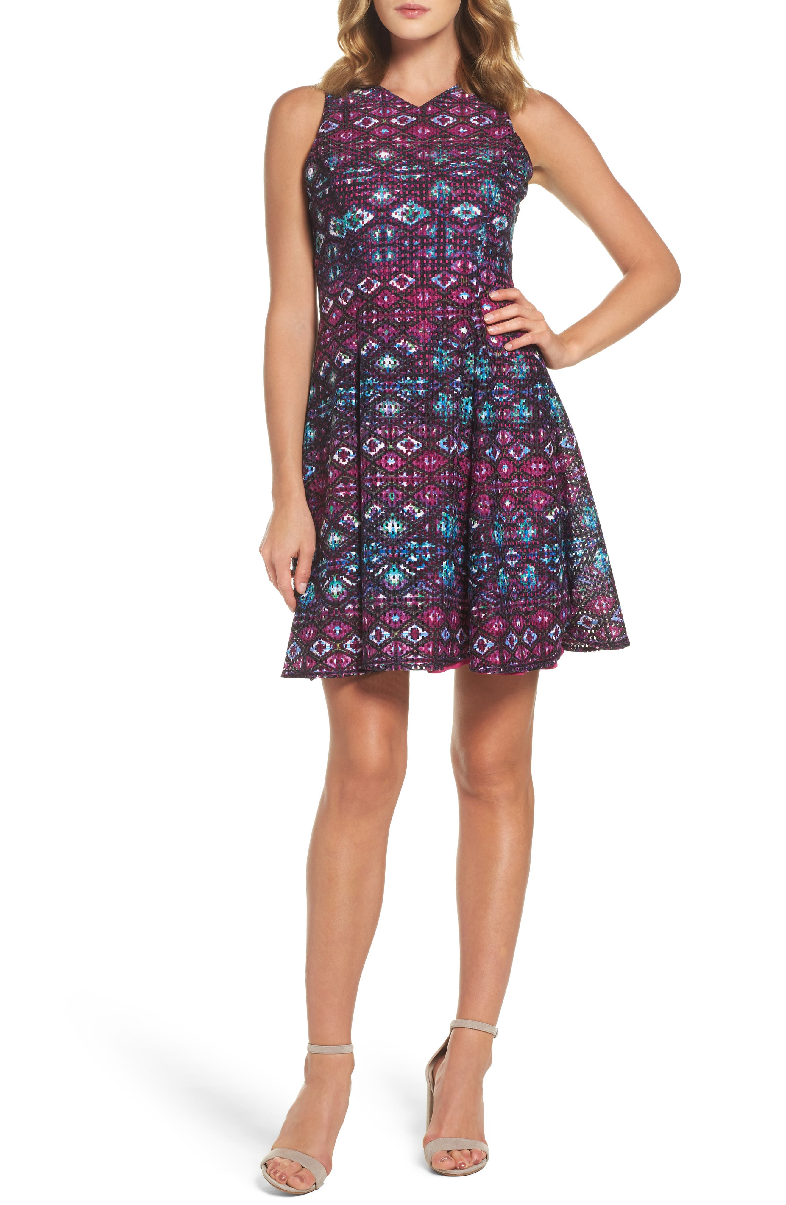 Maggy London Textured Fit & Flare Dress (Regular & Petite)