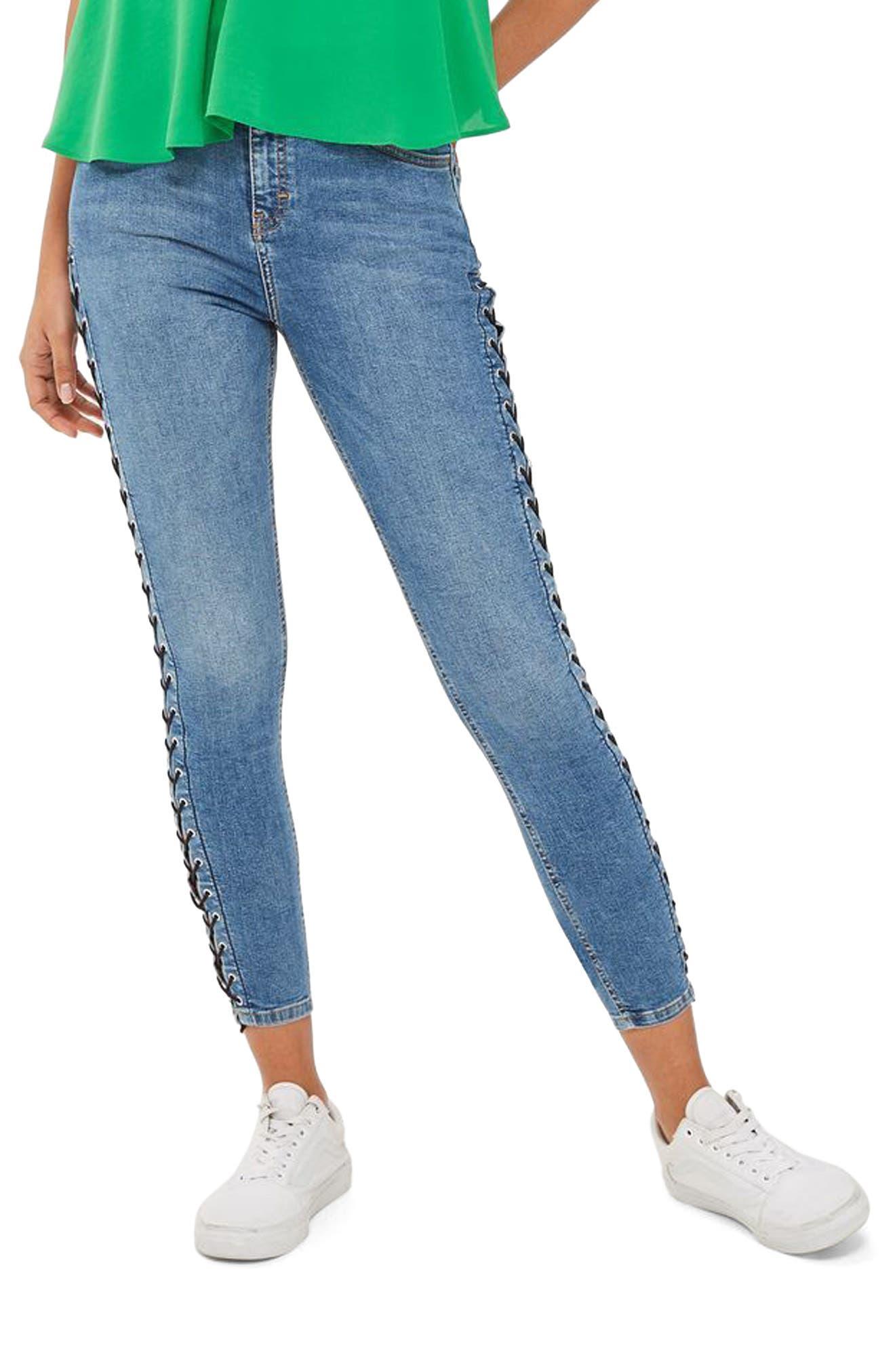 Topshop Jamie Side Lace-Up Ankle Skinny Jeans (Regular & Petite)