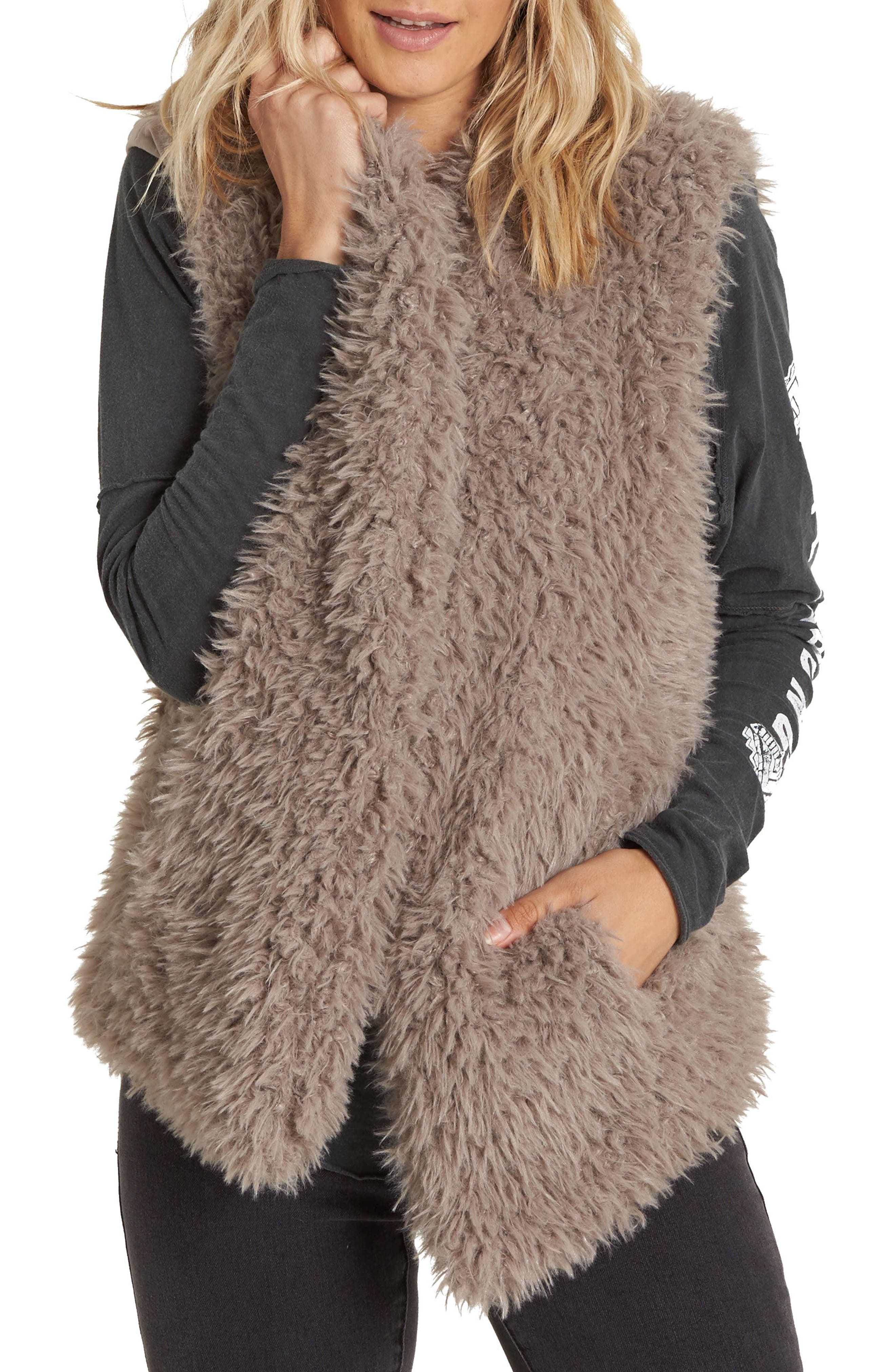 Billabong Furever Love Faux Fur Vest