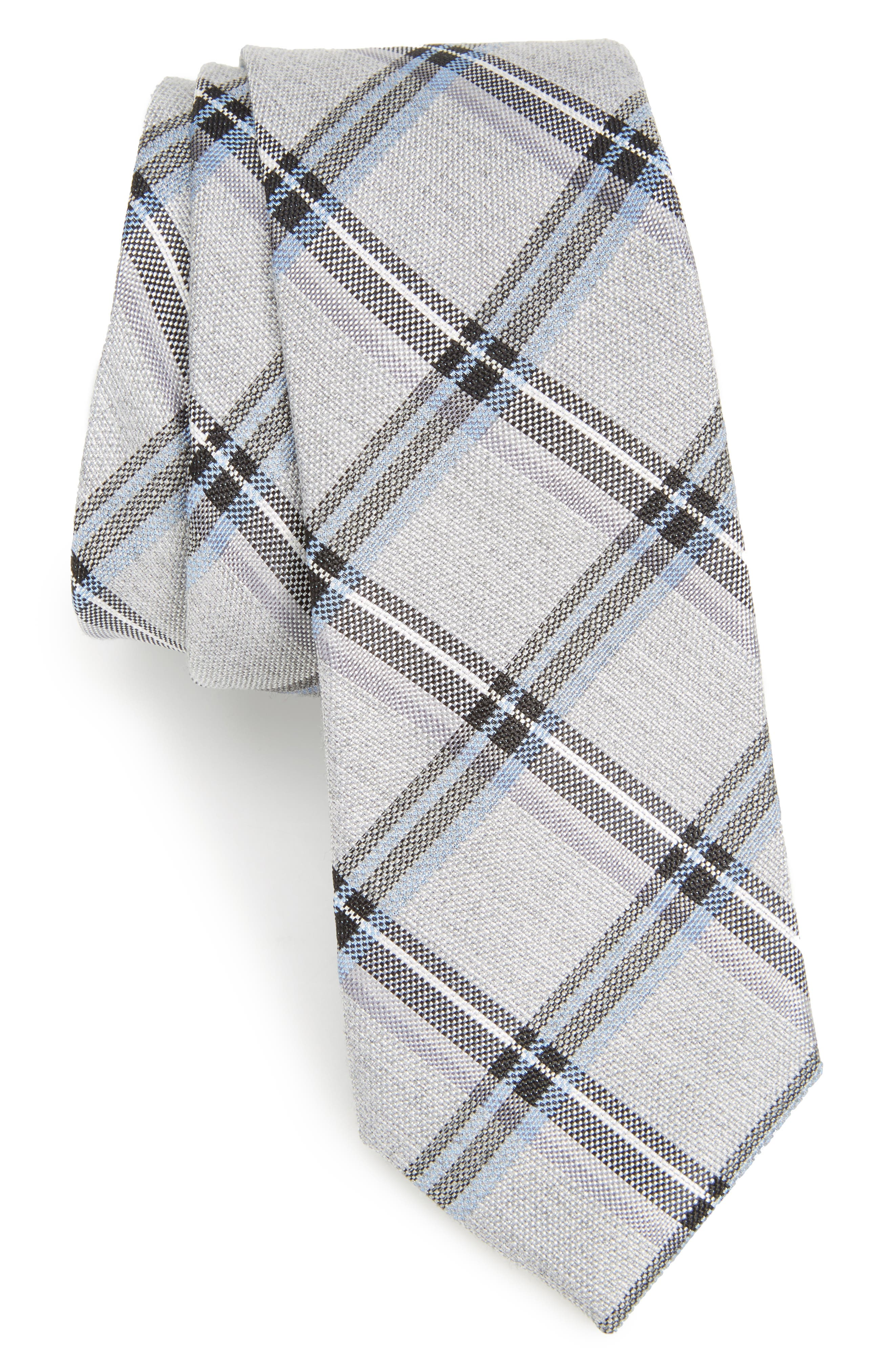 Calibrate Bassett Check Skinny Silk Blend Tie