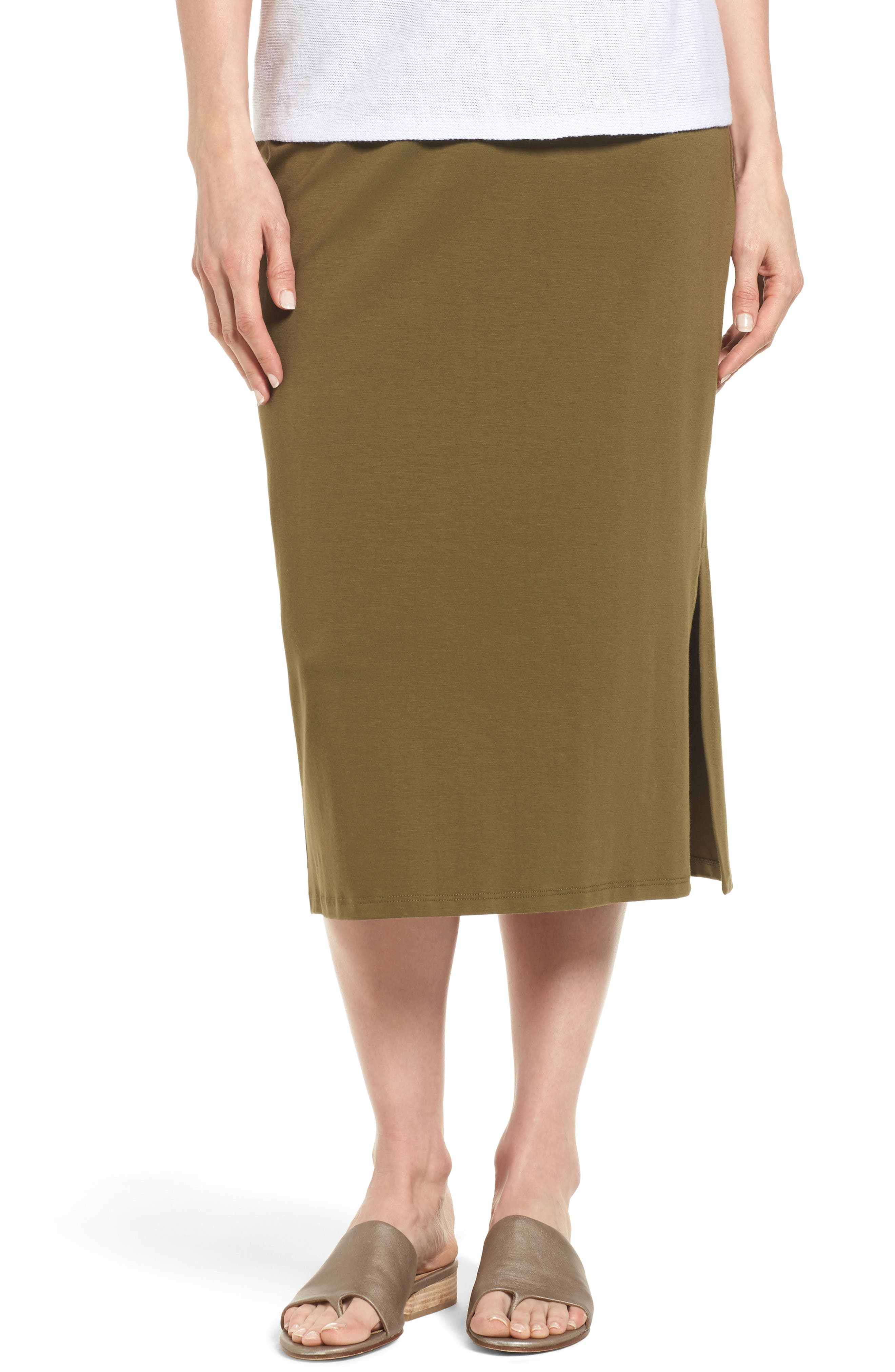 Eileen Fisher Stretch Organic Cotton Pencil Skirt (Regular & Petite)