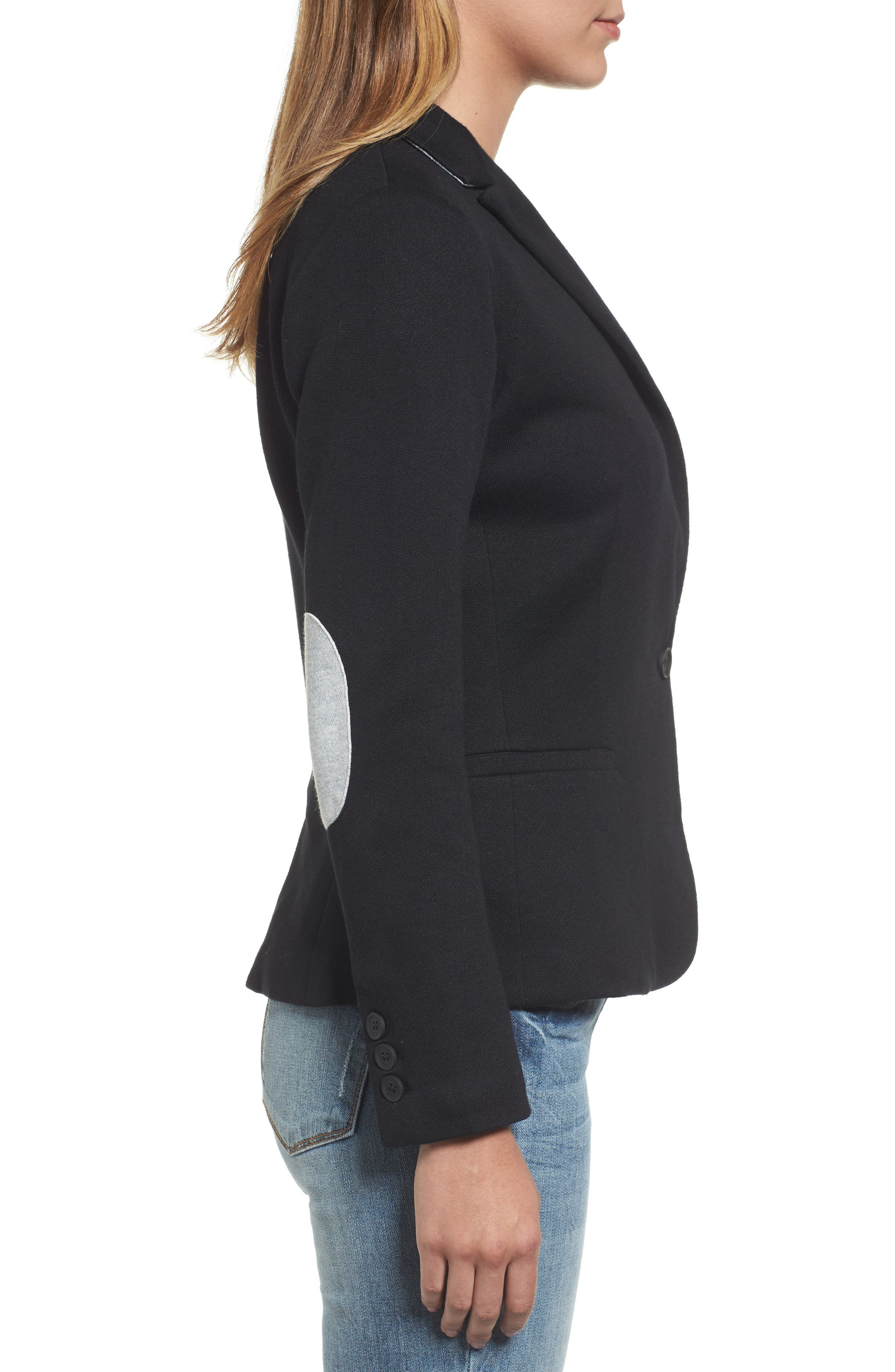 Alternate Image 3  - Olivia Moon Elbow Patch Knit Blazer (Regular & Petite)