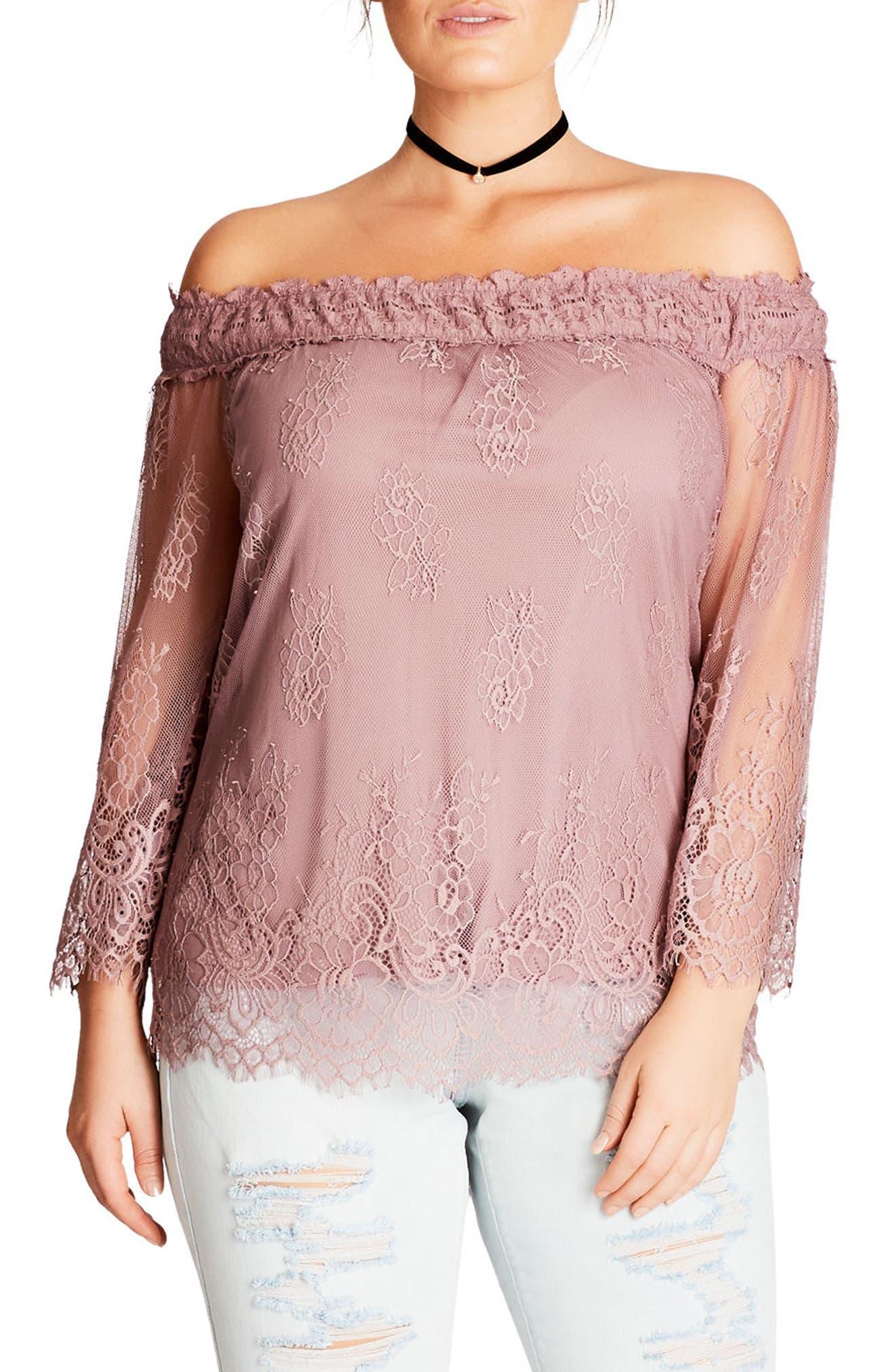 City Chic Soft Lace Off the Shoulder Top (Plus Size)
