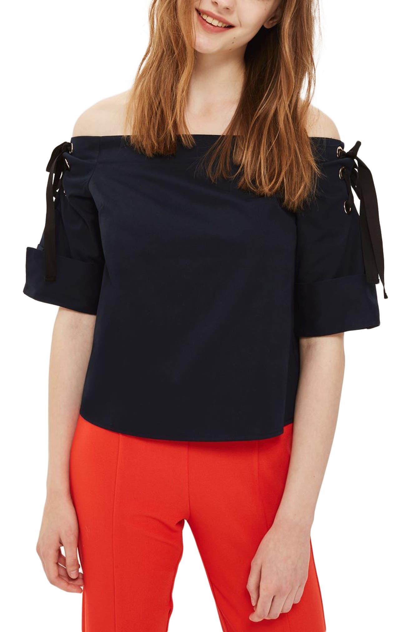 Topshop Lace-Up Off the Shoulder Top