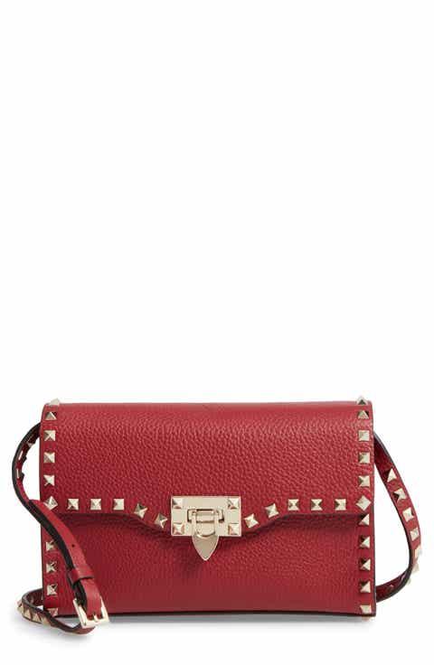 Valentino Medium Rockstud Leather Messenger Bag