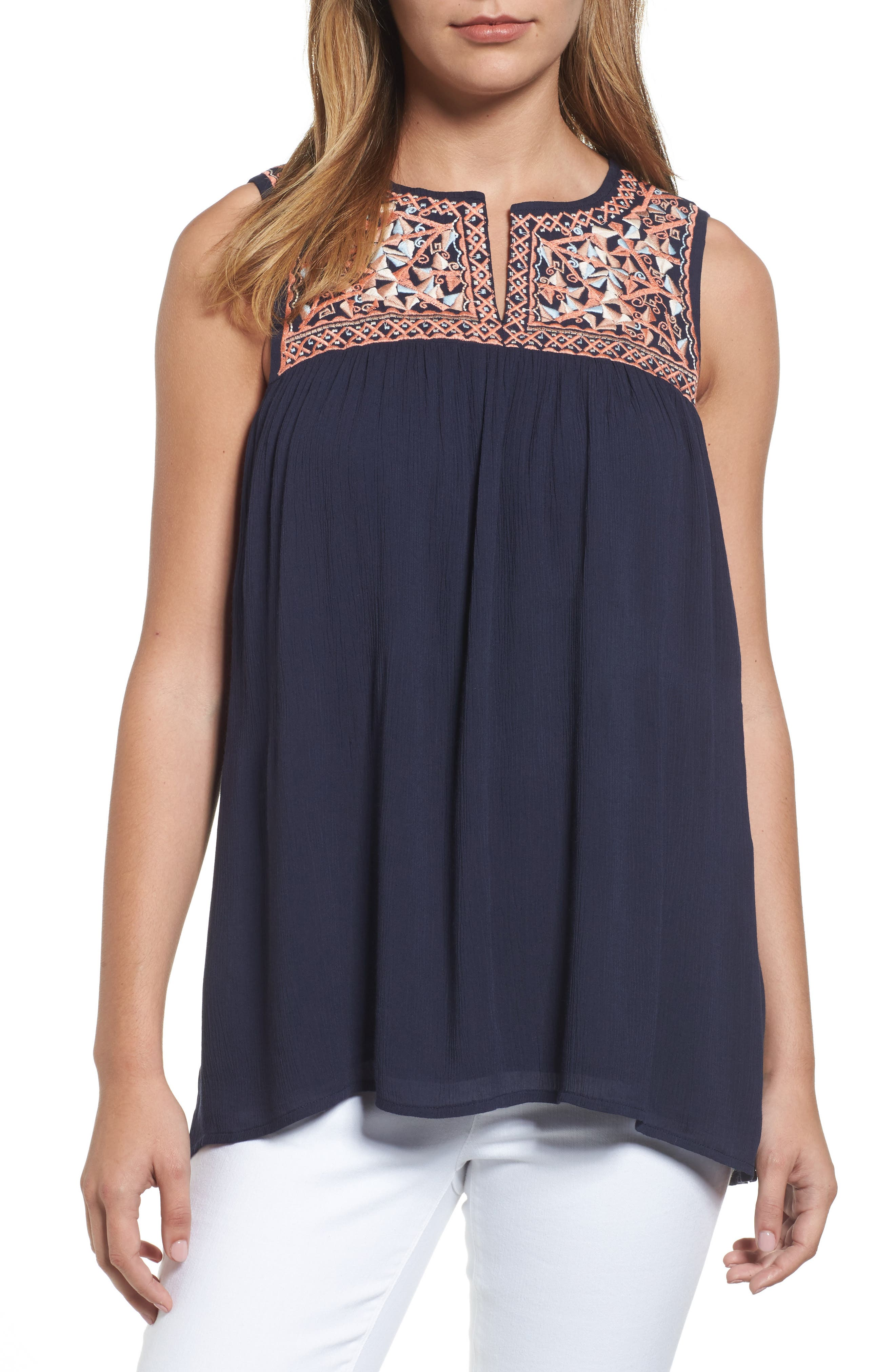 THML Embroidered Sleeveless Top