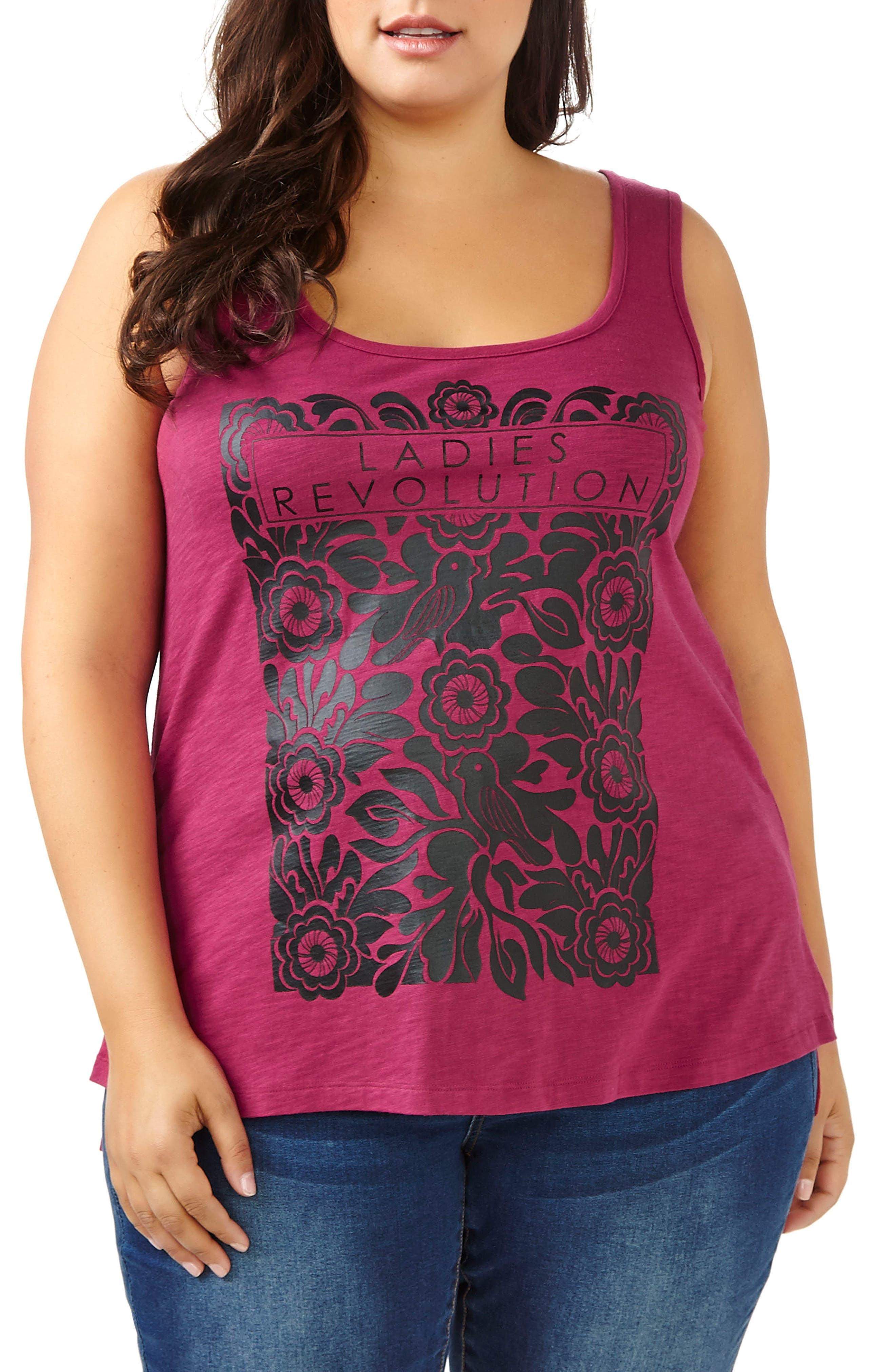 ADDITION ELLE LOVE AND LEGEND Screenprint Tank (Plus Size)