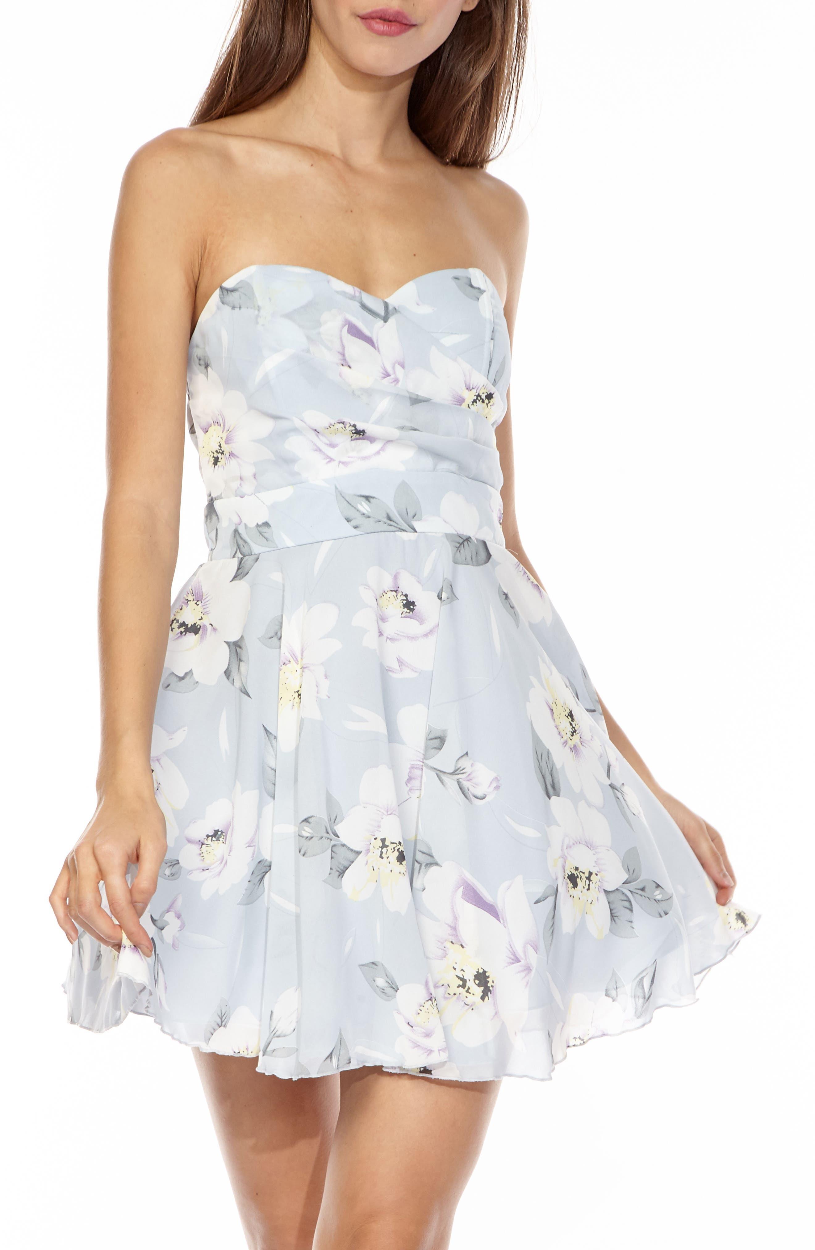 TFNC Minnie Strapless Fit & Flare Dress