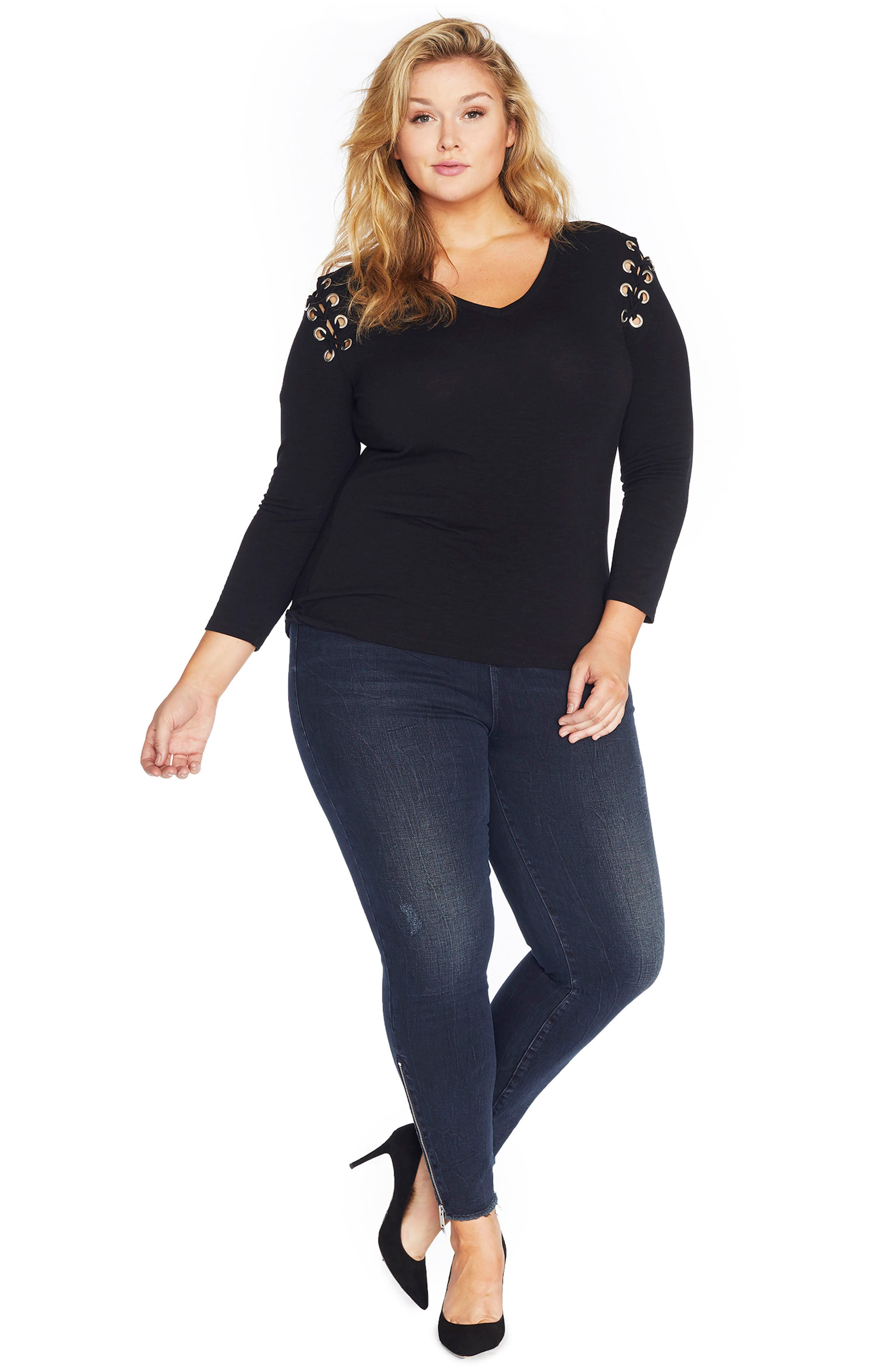 Alternate Image 2  - REBEL WILSON X ANGELS Lace-Up Shoulder Fitted Tee (Plus Size)