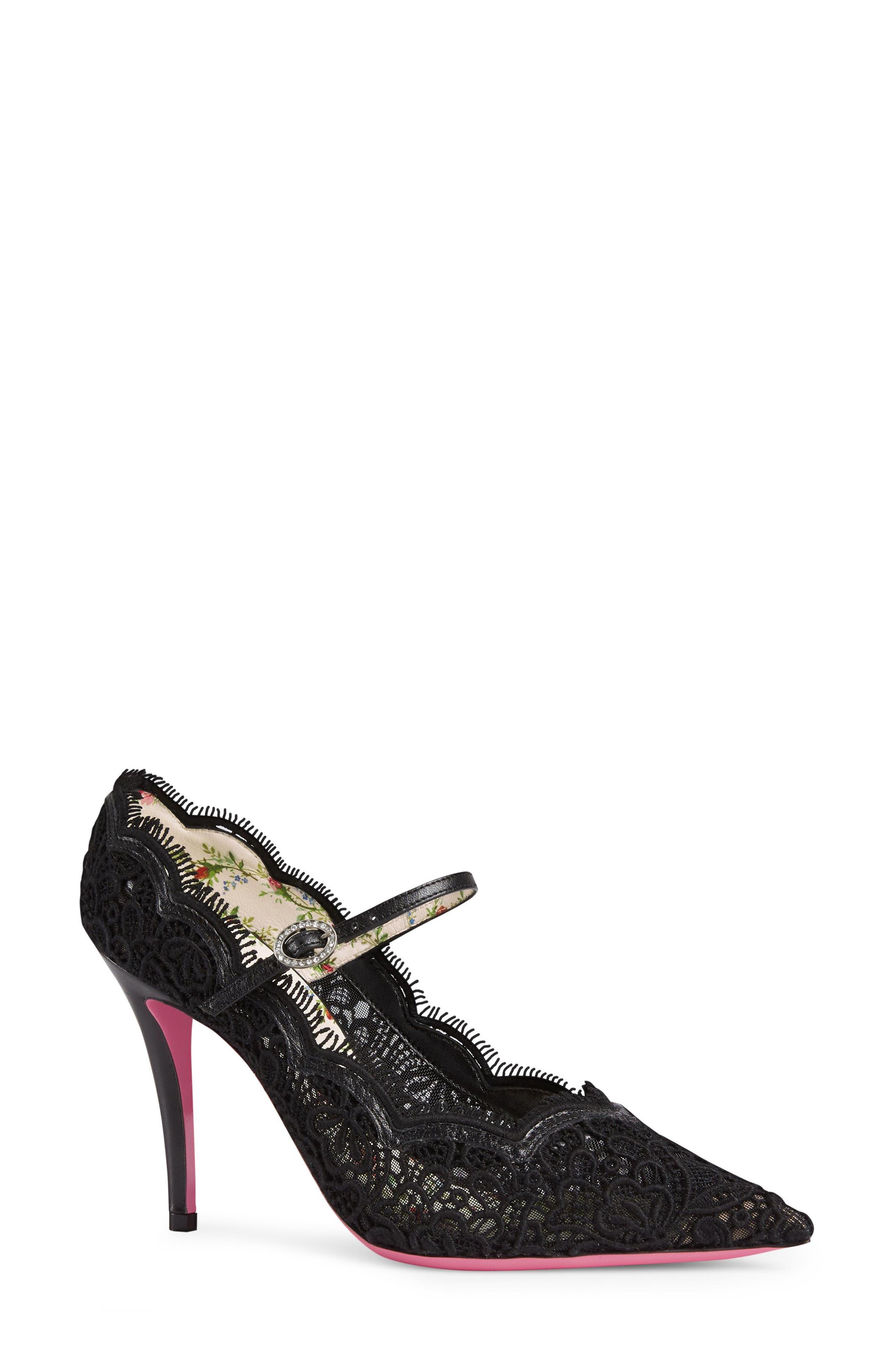 Gucci Virginia Pointy Toe Mary Jane Pump (Women)