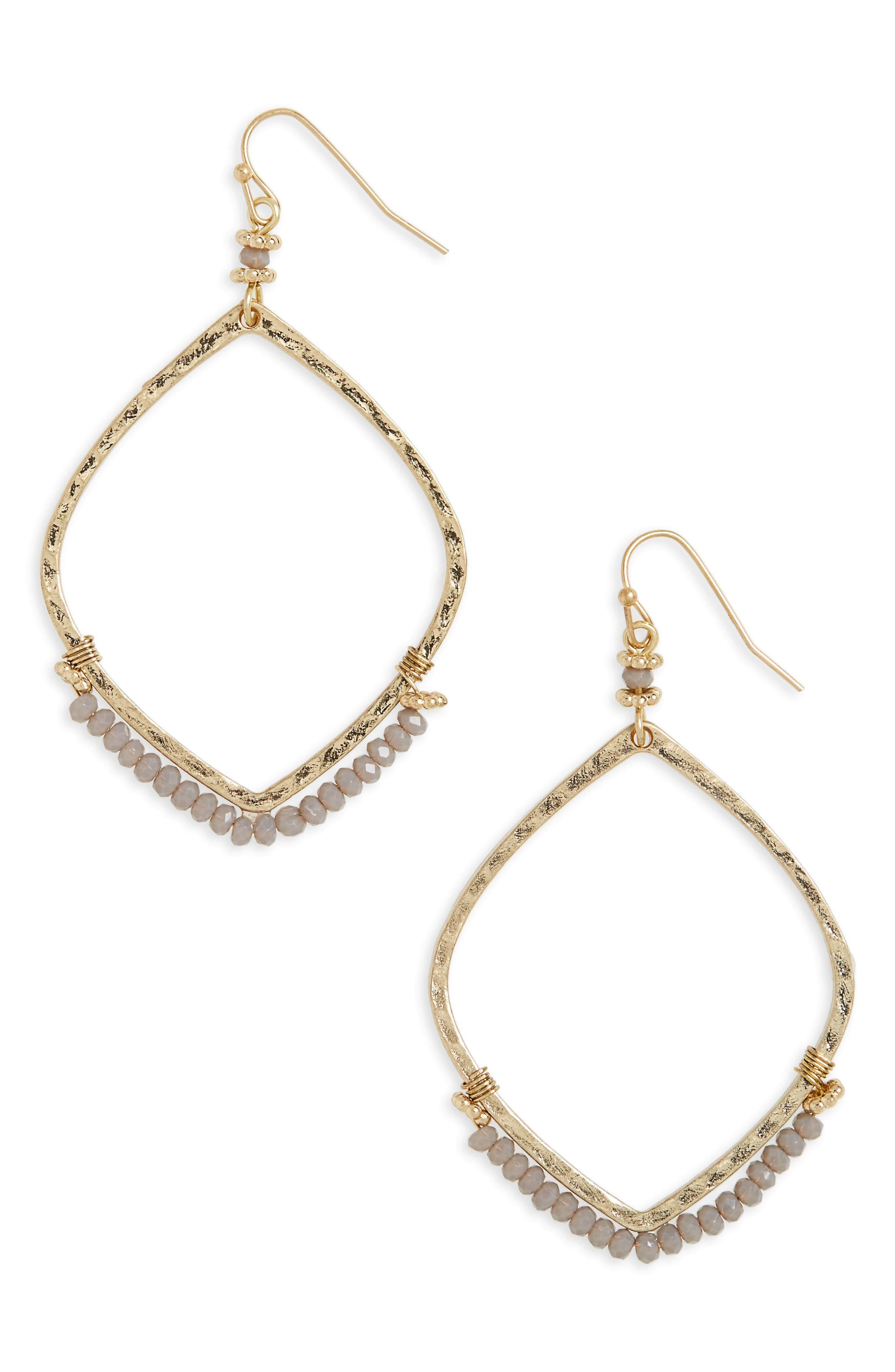 Canvas Beaded Drop Earrings