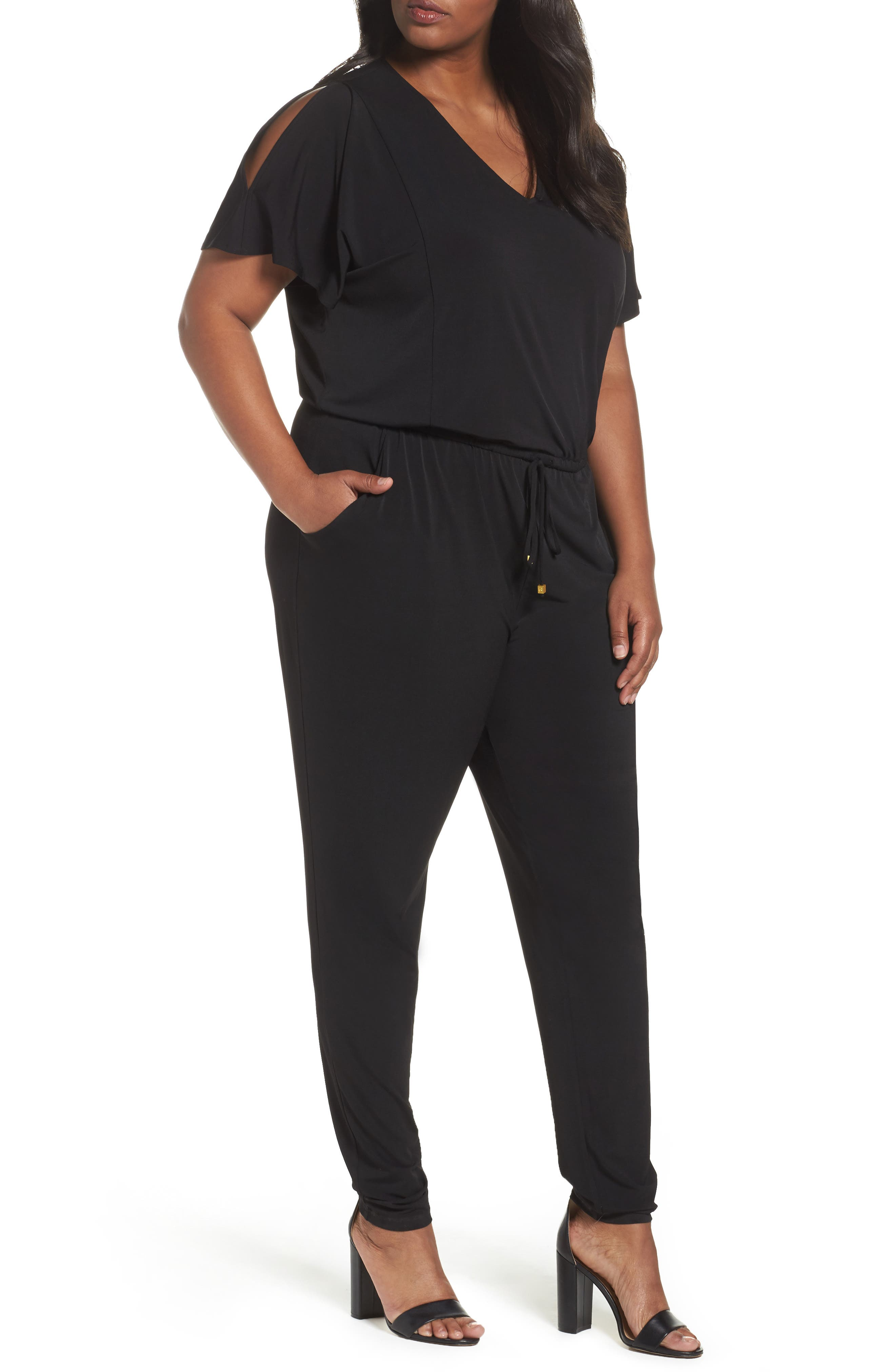 MICHAEL Michael Kors Cold Shoulder Jumpsuit (Plus Size)