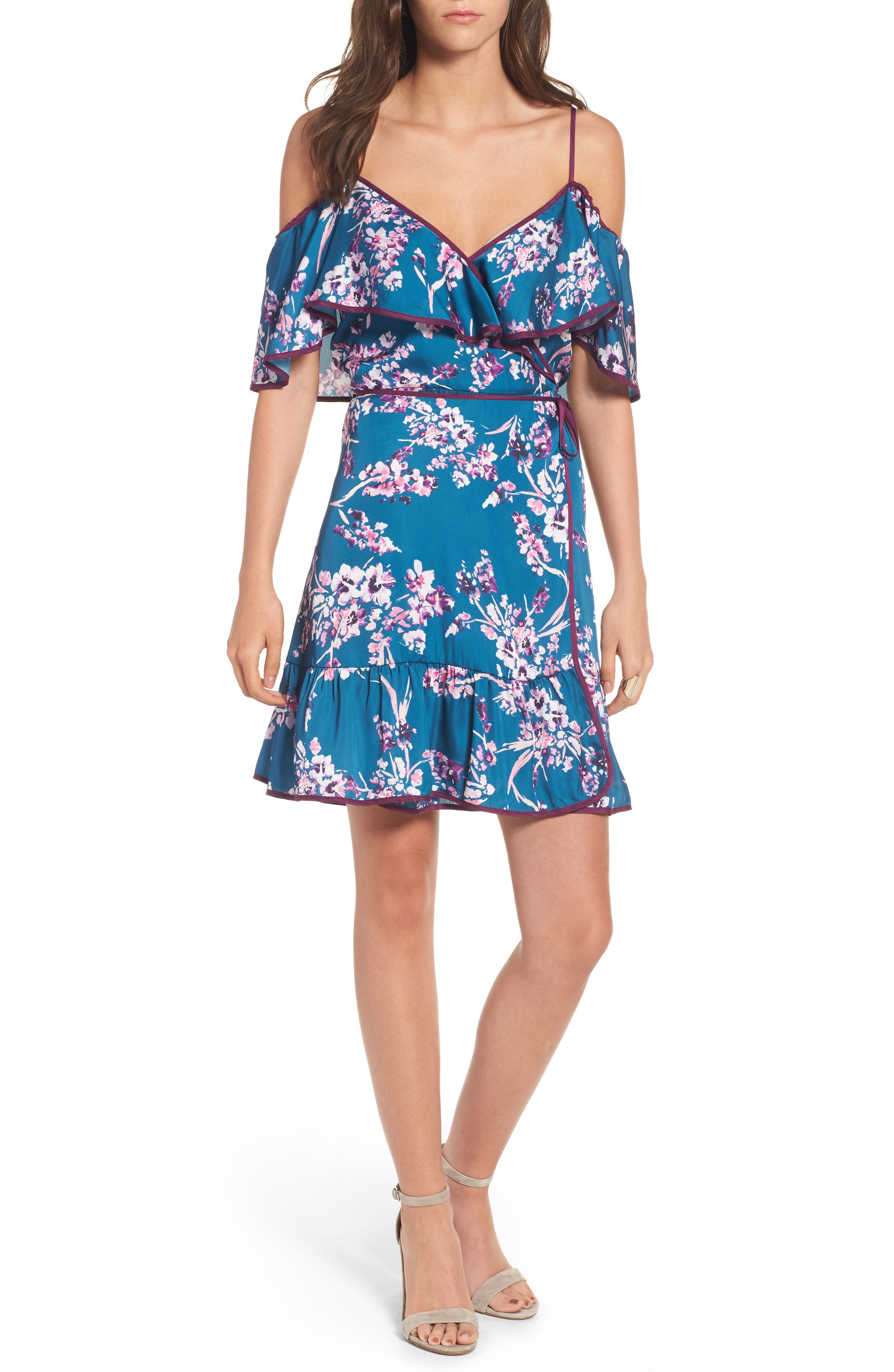 devlin Iris Off the Shoulder Wrap Dress