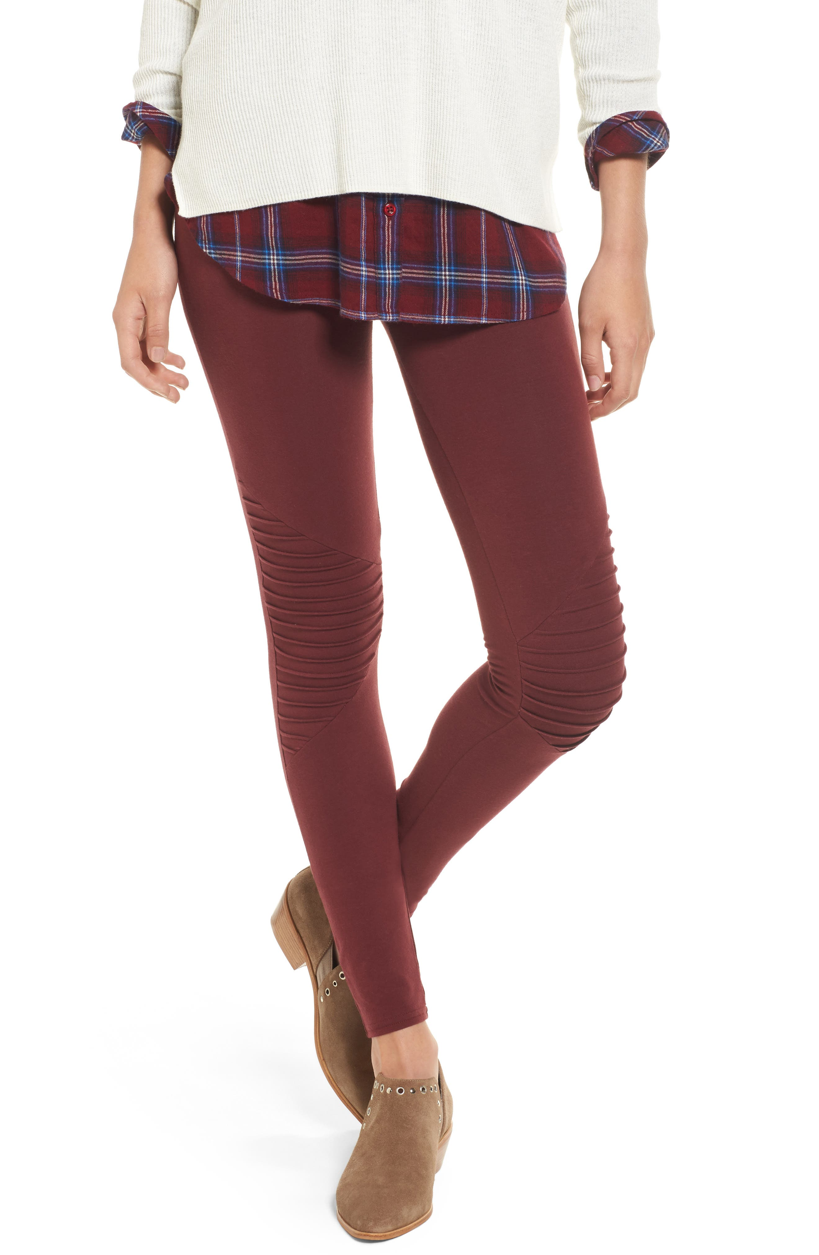 Nordstrom Moto Washed Cotton Blend Leggings
