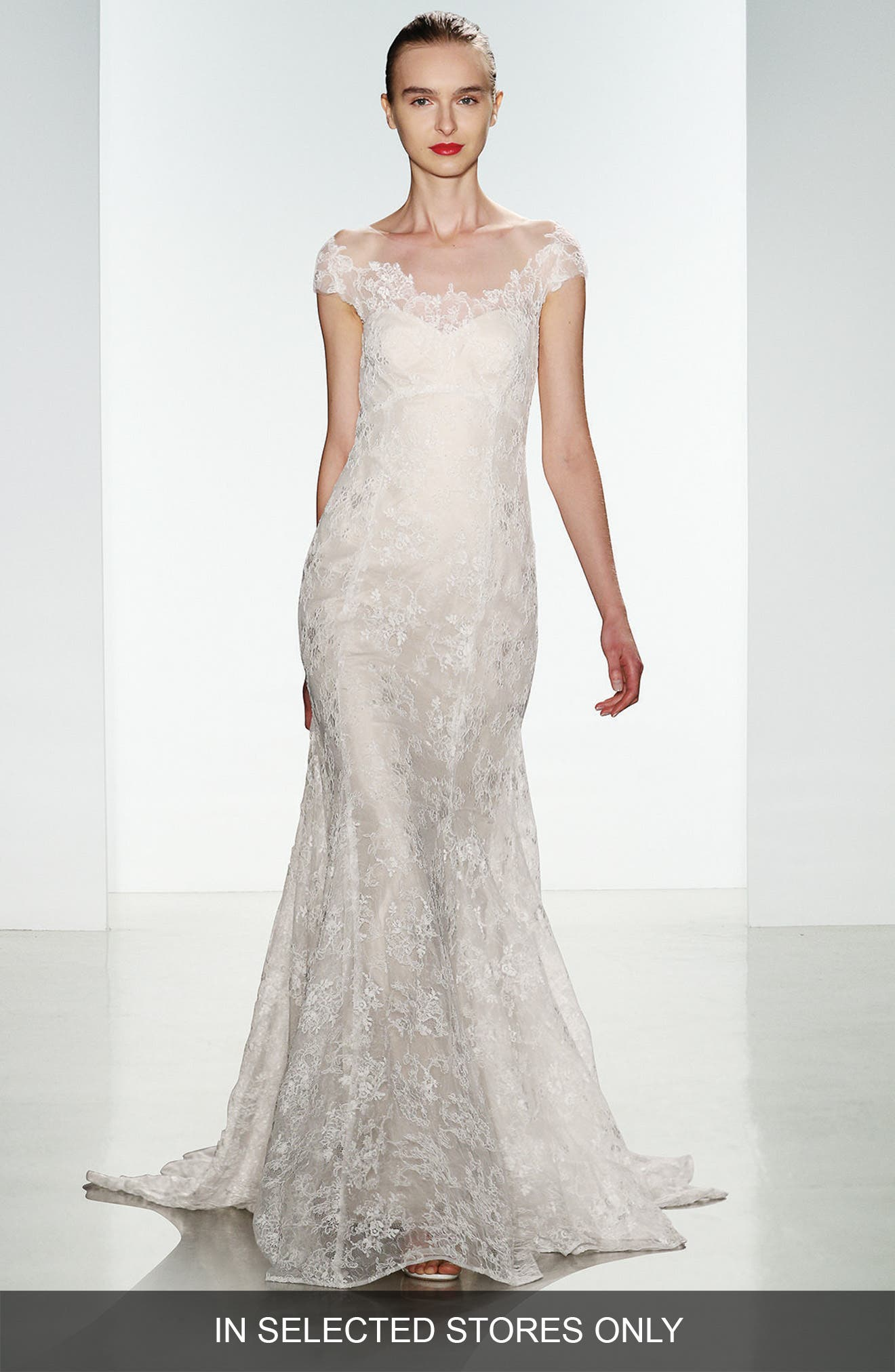 Christos Bridal 'Mona' Off the Shoulder Corded Lace Fit & Flare Gown (In Stores Only)