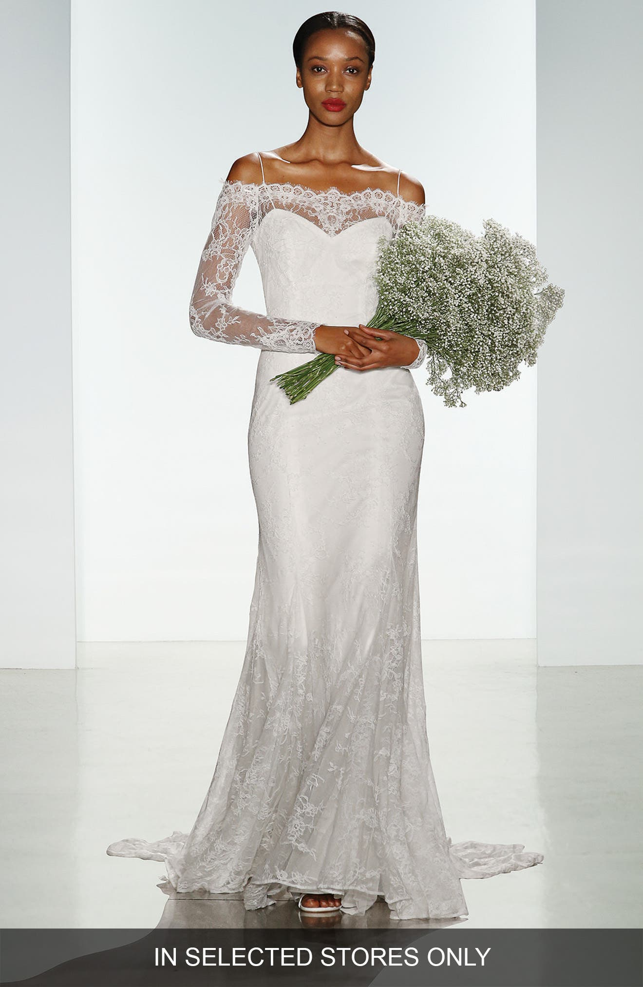 Christos Bridal 'Tilly' Long Sleeve Off the Shoulder Corded Lace Gown (In Stores Only)