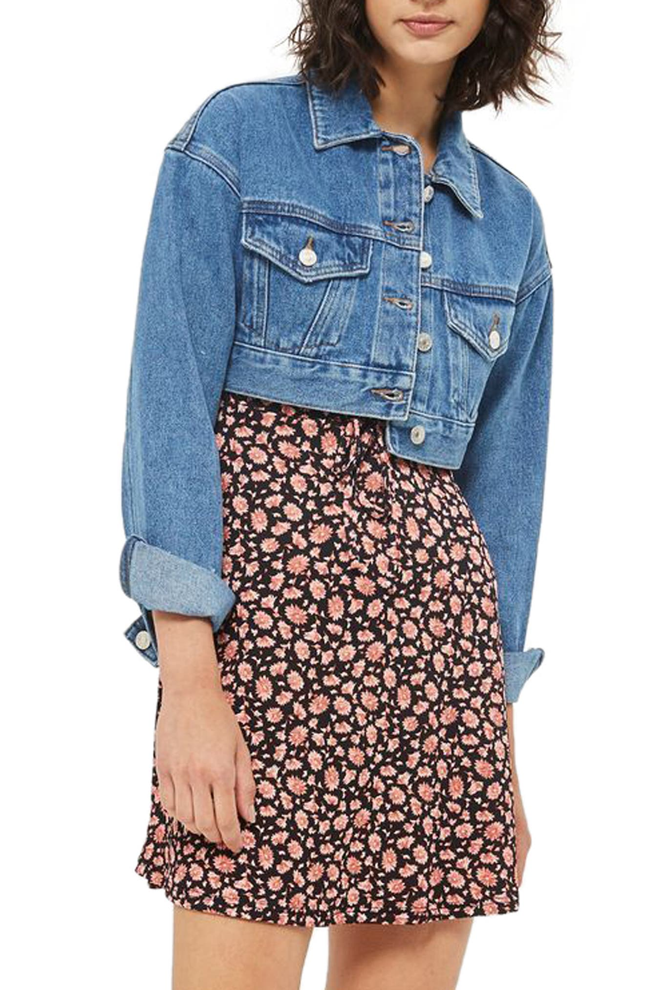 Topshop Shrunken Crop Denim Jacket