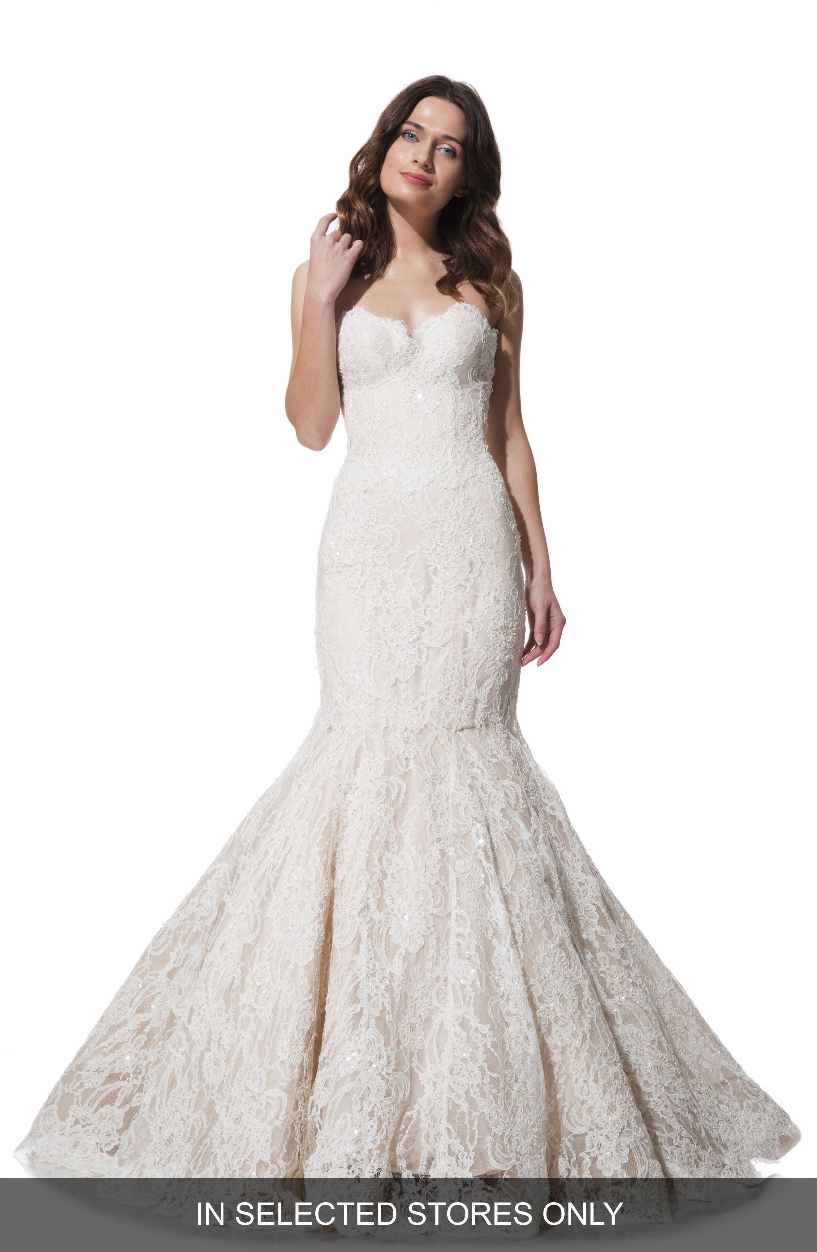 Olia Zavozina 'Anya' Beaded Lace Mermaid Dress (In Stores Only)