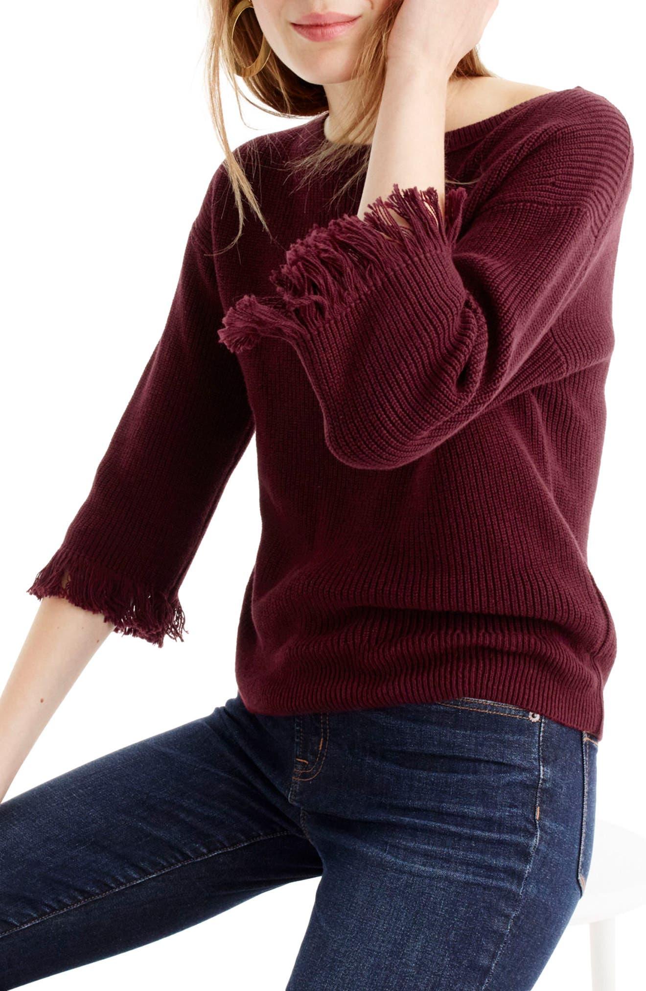 J.Crew Fringe Crewneck Sweater