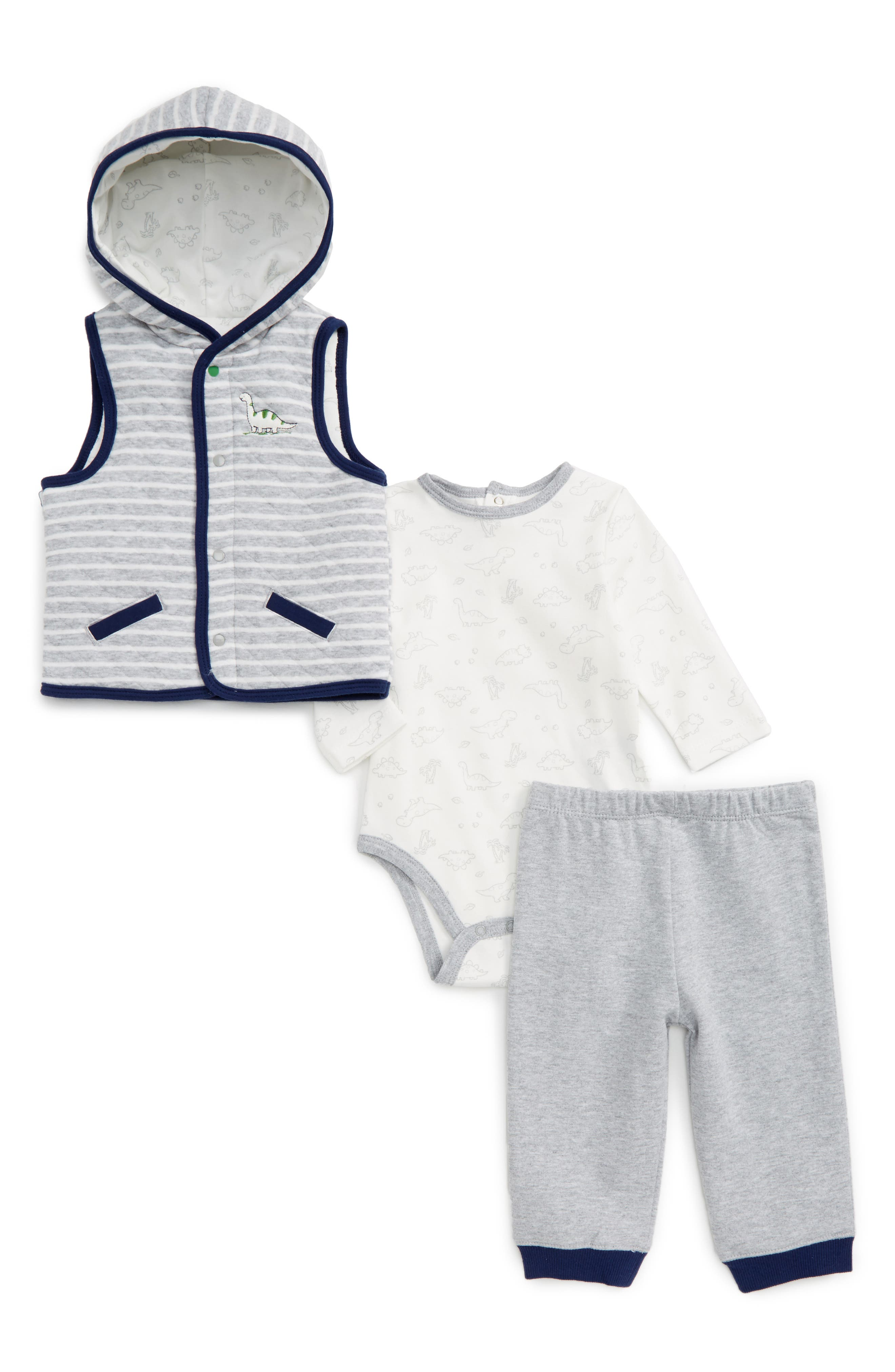 Little Me Hooded Vest, Bodysuit & Pants Set (Baby Boys)