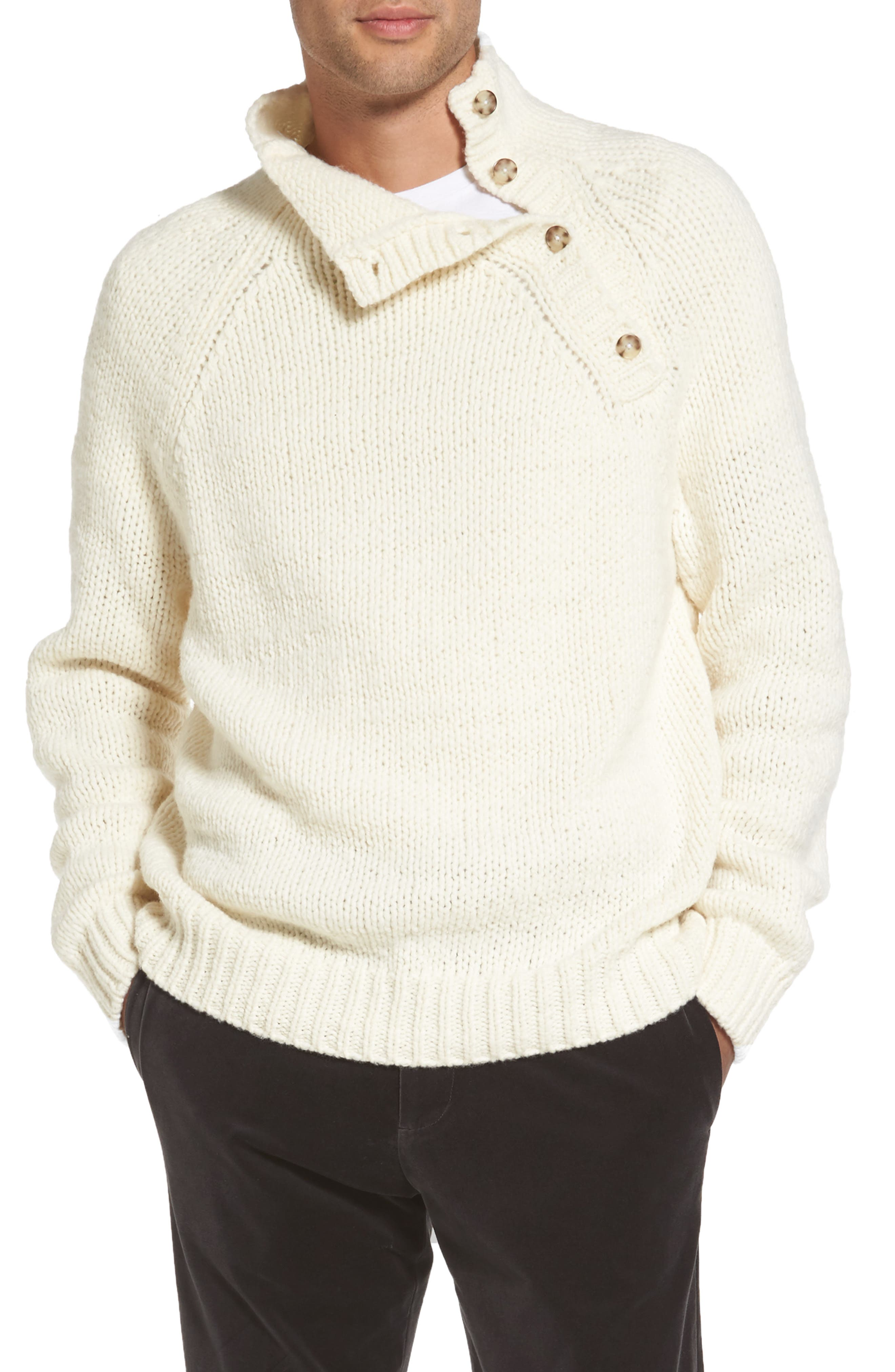 Vince Side Button Mock Neck Sweater