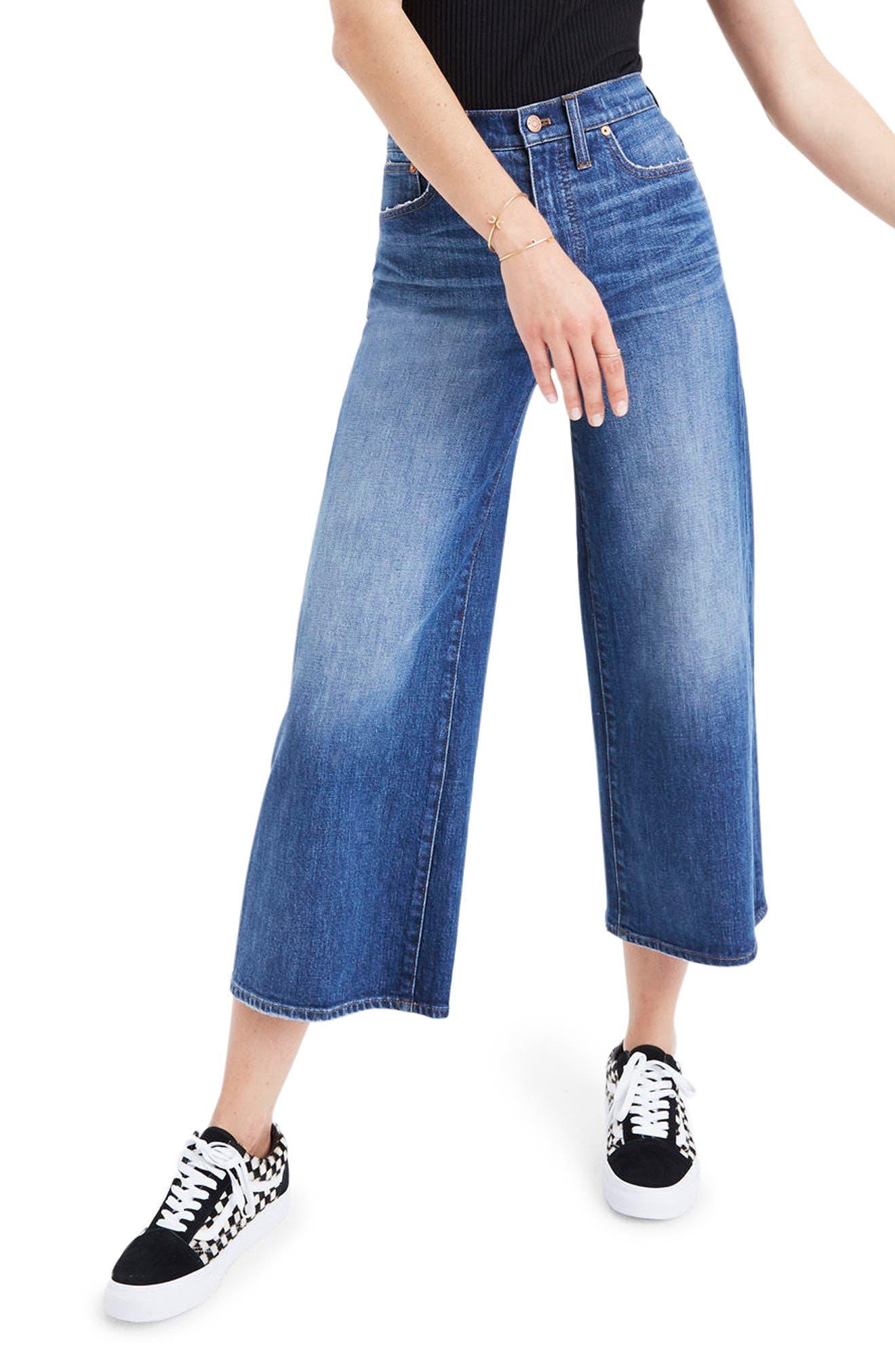 Madewell High Waist Crop Wide Leg Jeans (Bainbridge Wash)