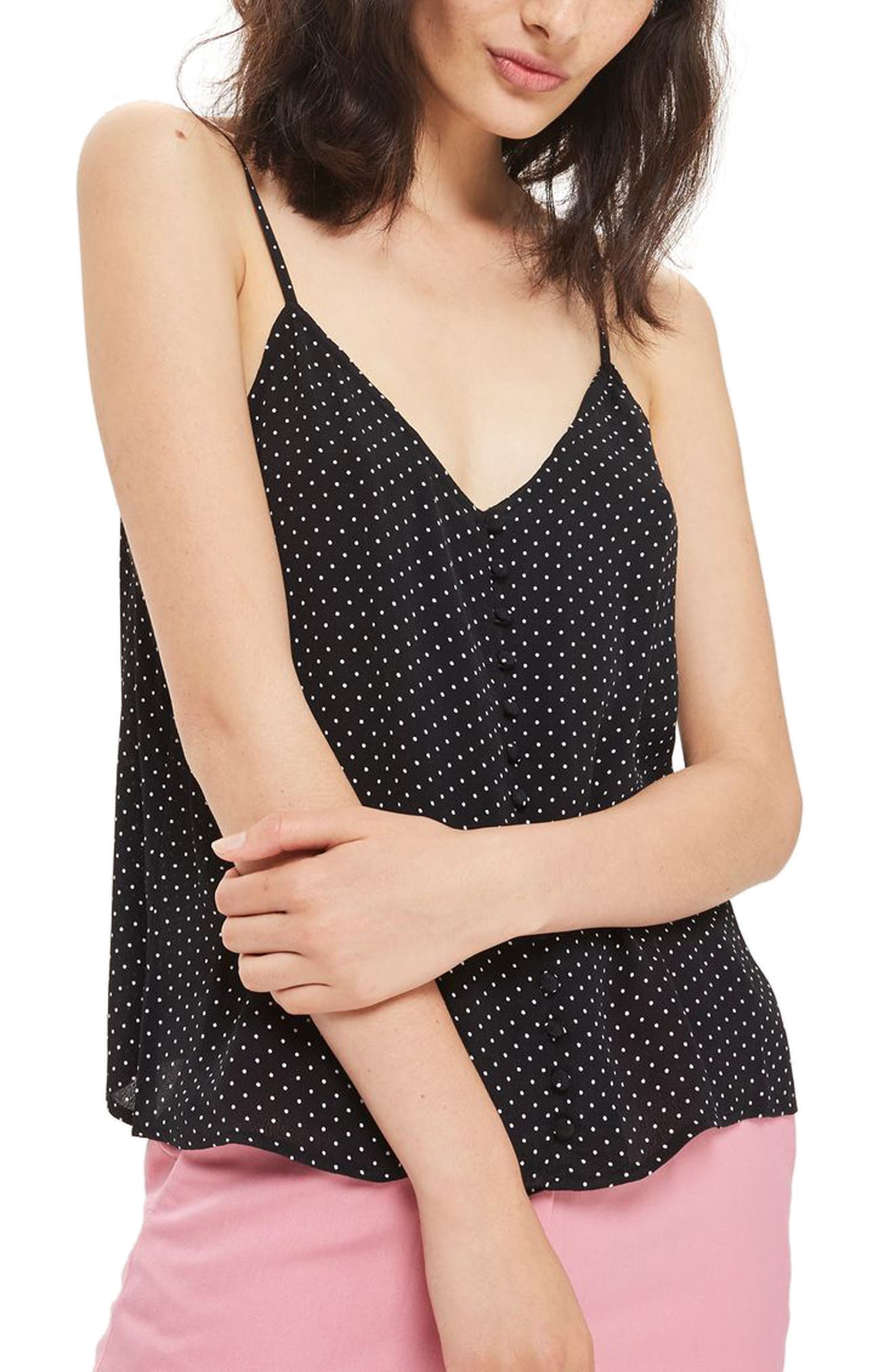 Topshop Button Front Pindot Camisole