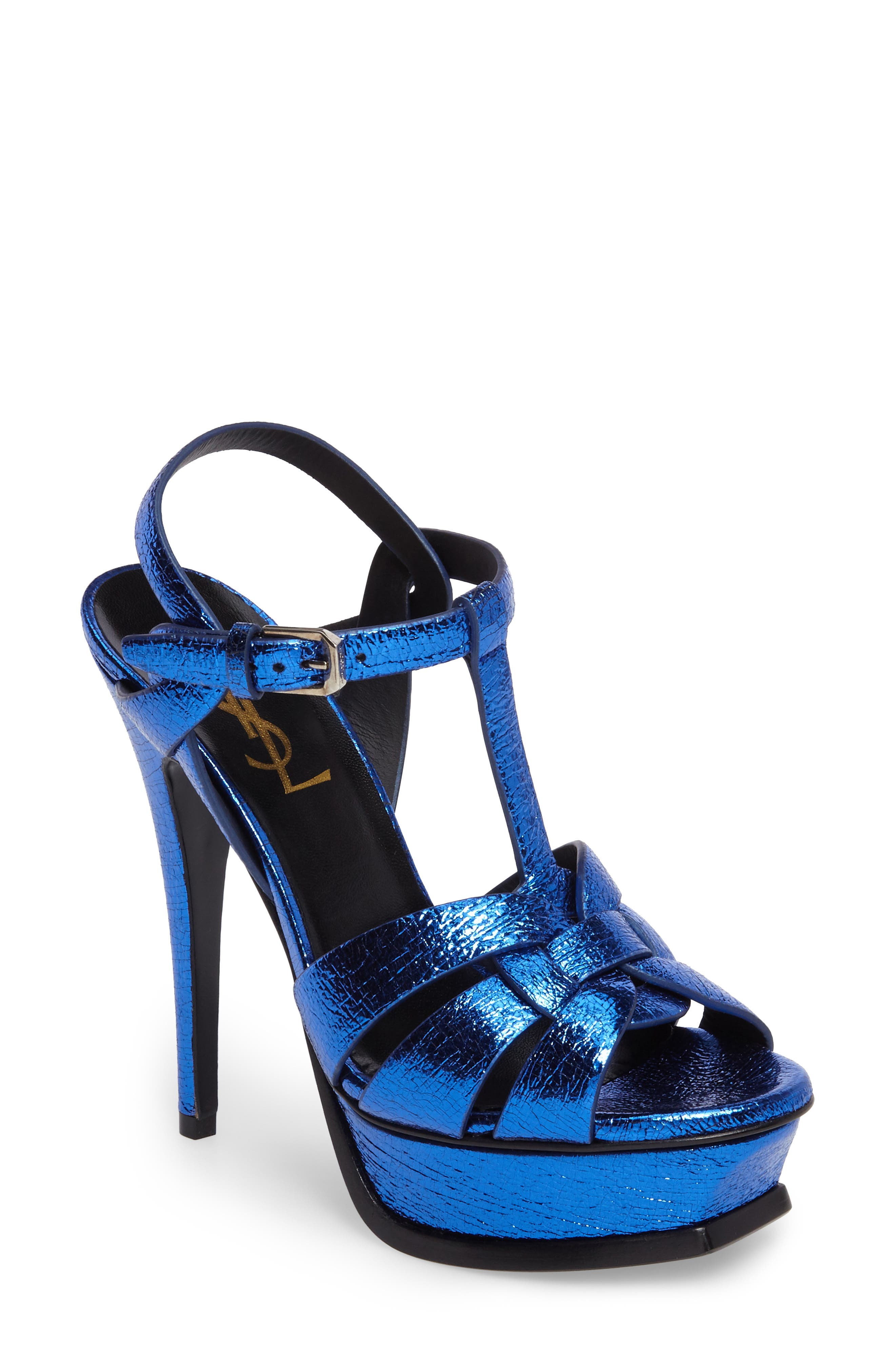 Saint Laurent Tribute Metallic Platform Sandal (Women)