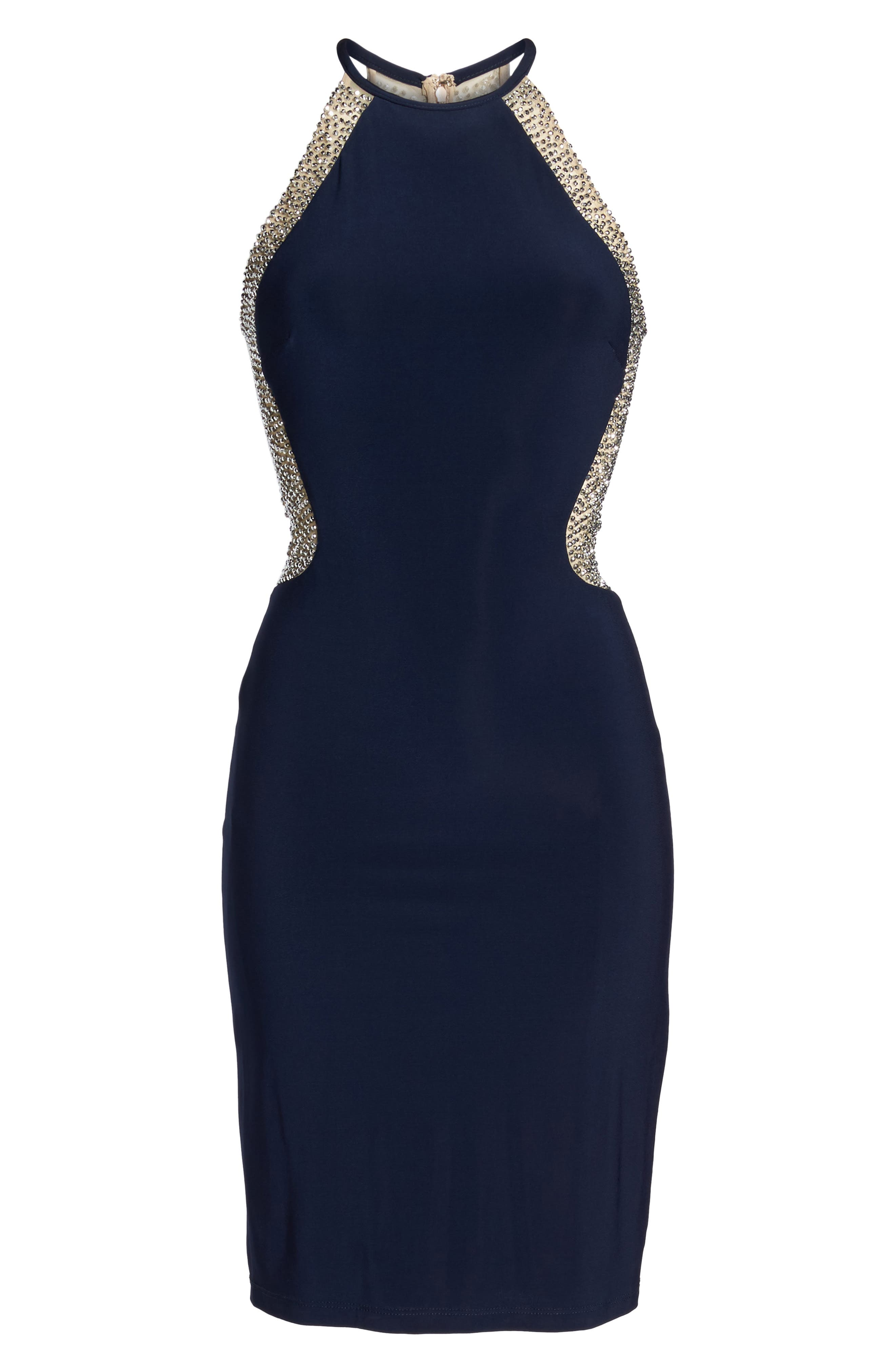 Xscape Beaded Mesh & Jersey Sheath Dress