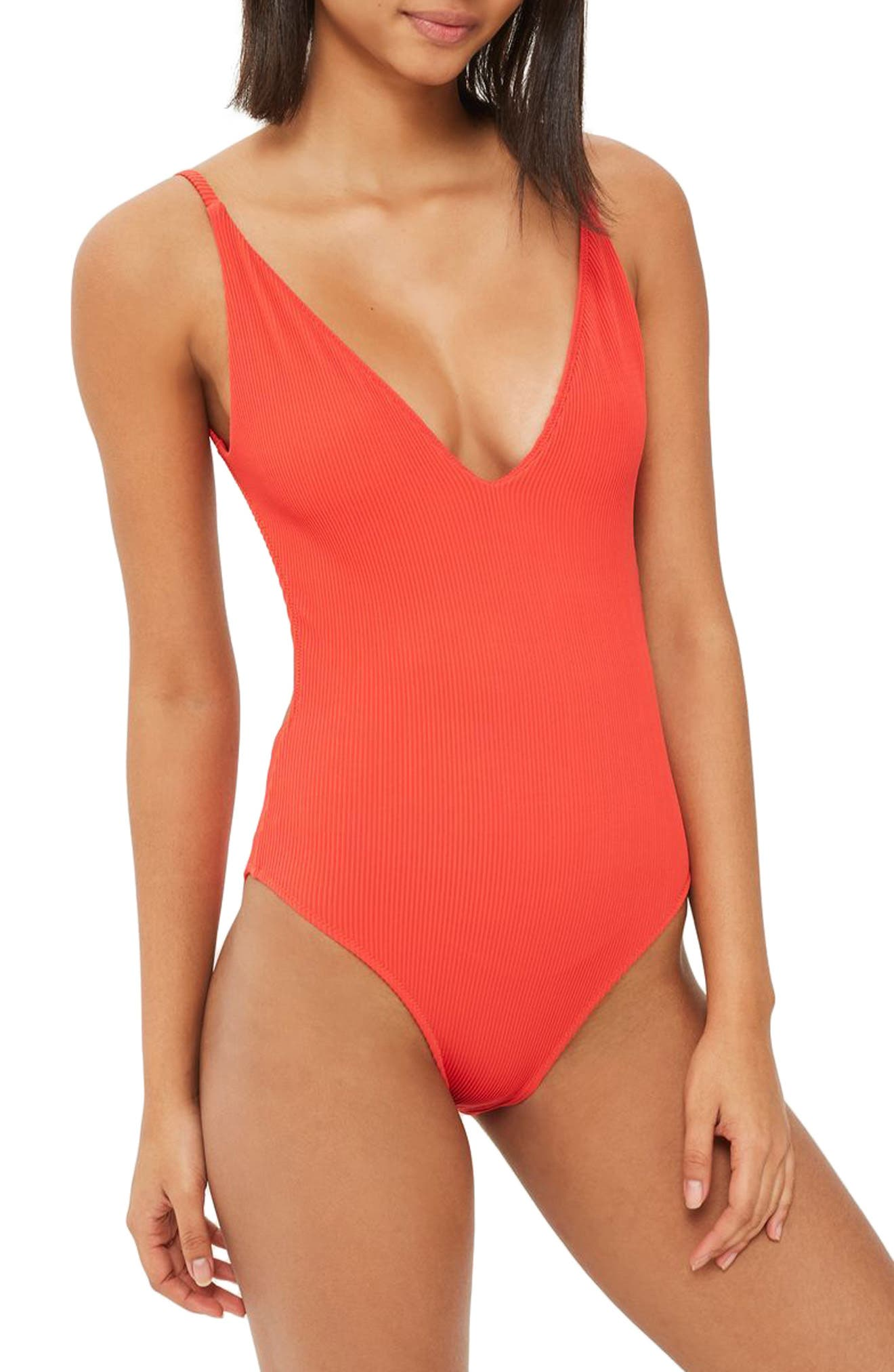 Alternate Image 1 Selected - Topshop Plunge One-Piece Swimsuit
