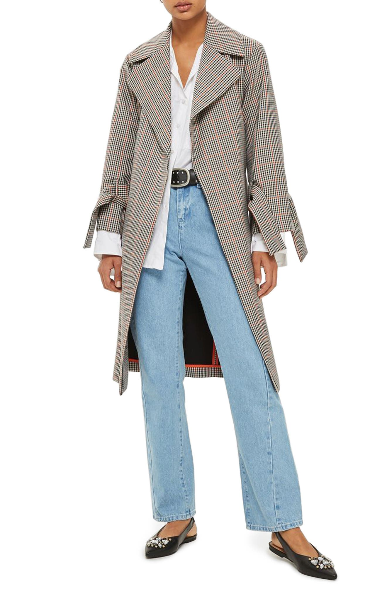 Topshop Check Wrap Trench Coat