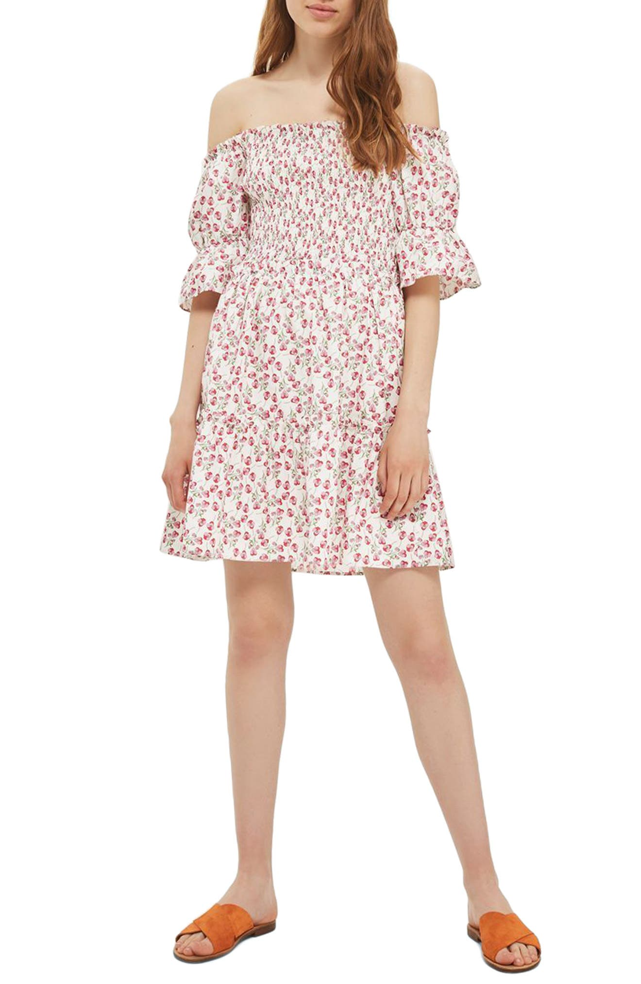 Topshop Liberty Print Off the Shoulder Dress