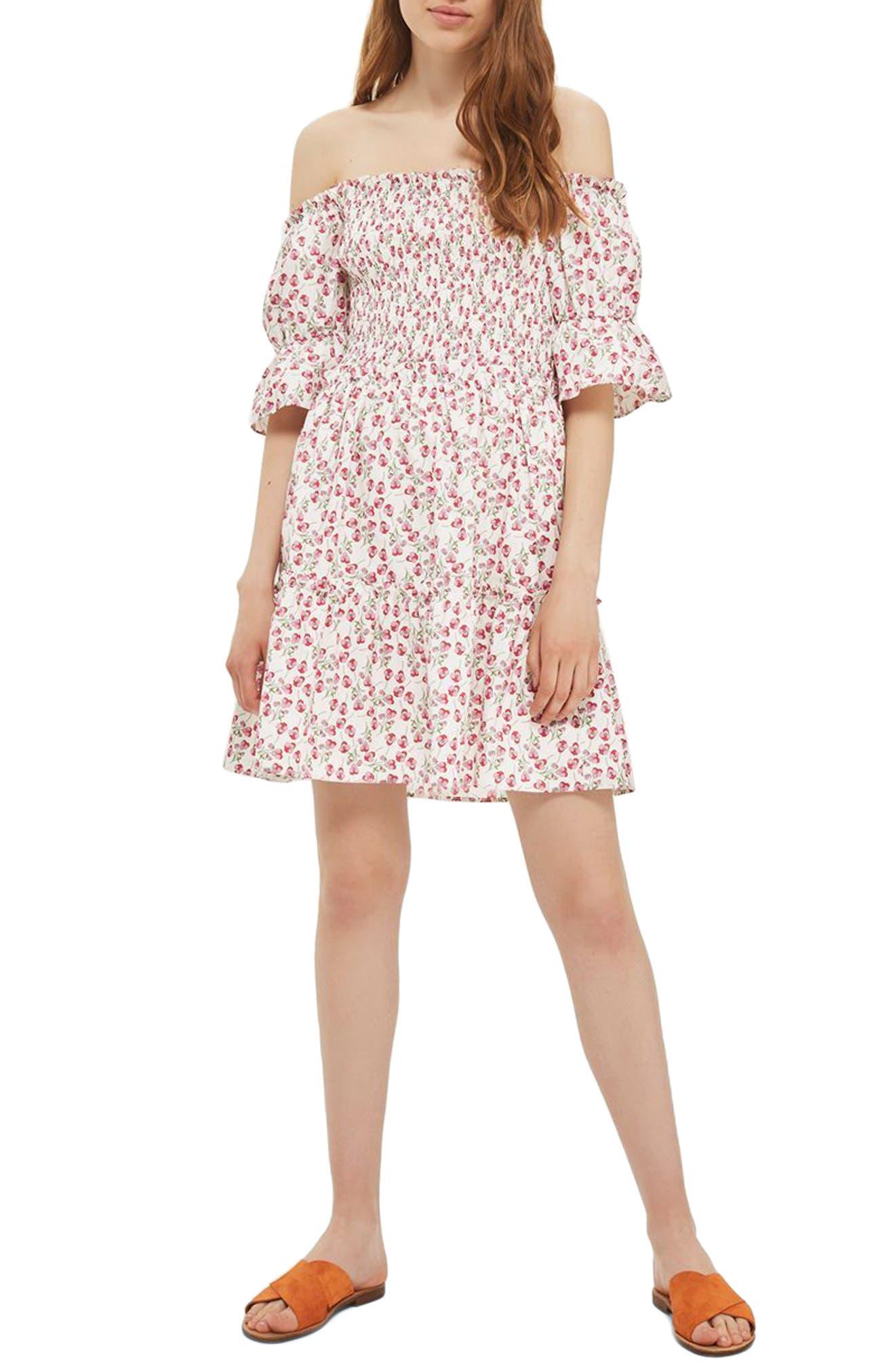 Topshop Liberty Print Off the Shoulder Dress