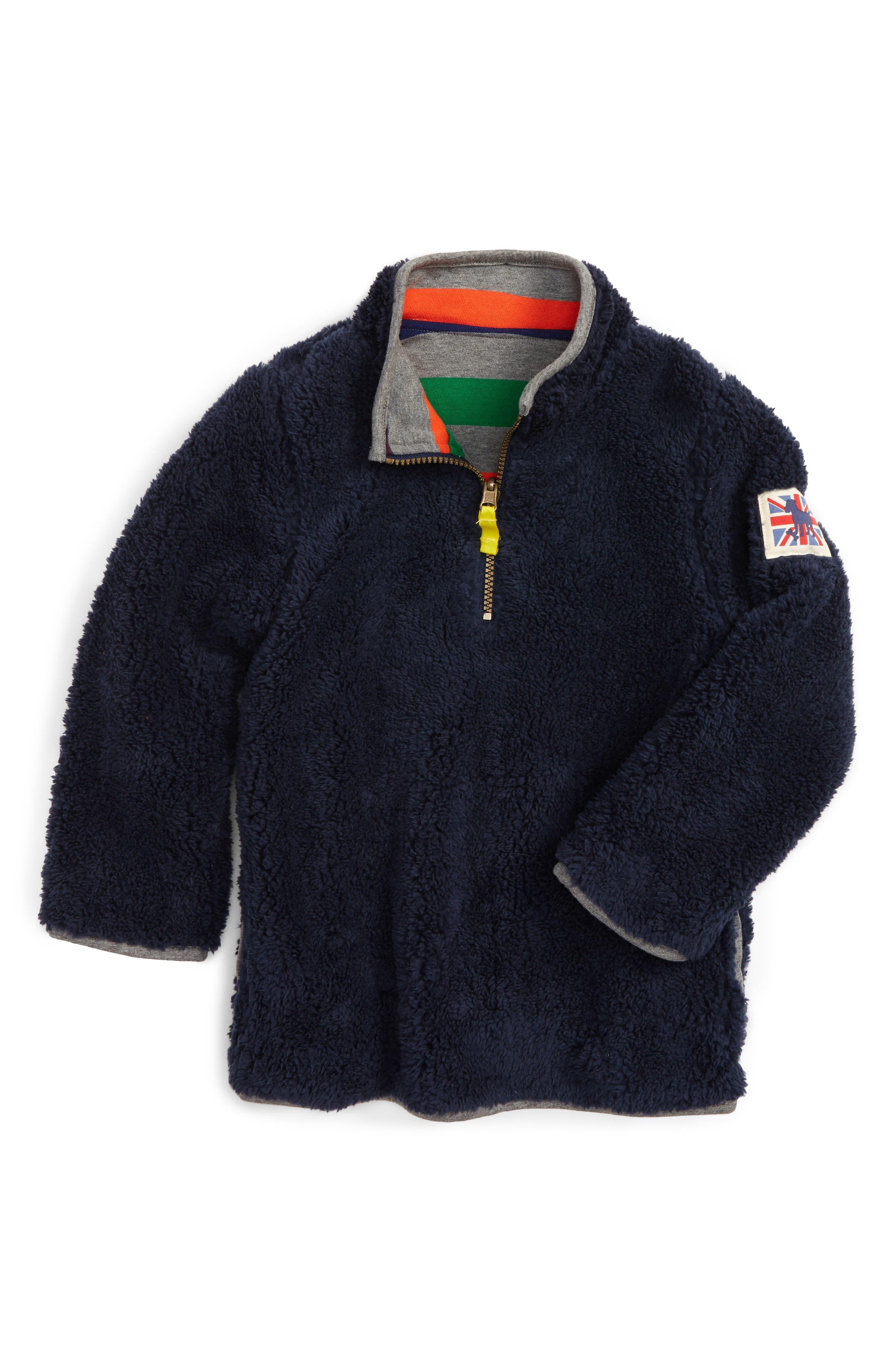 Mini Boden Reversible Quarter Zip Sweatshirt (Toddler Boys, Little Boys & Big Boys)
