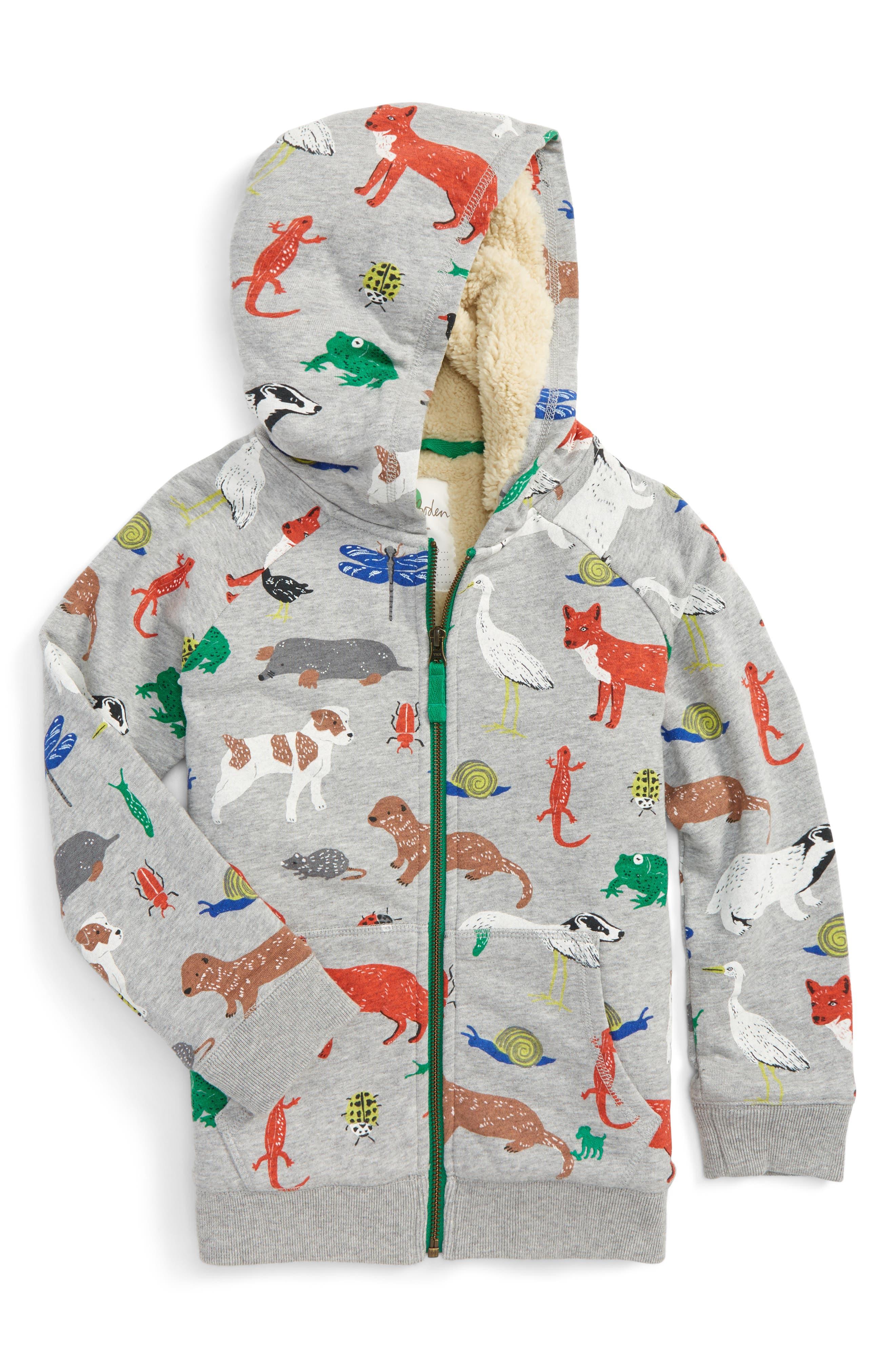 Mini Boden Animal Print Shaggy Hoodie (Toddler Boys, Little Boys & Big Boys)