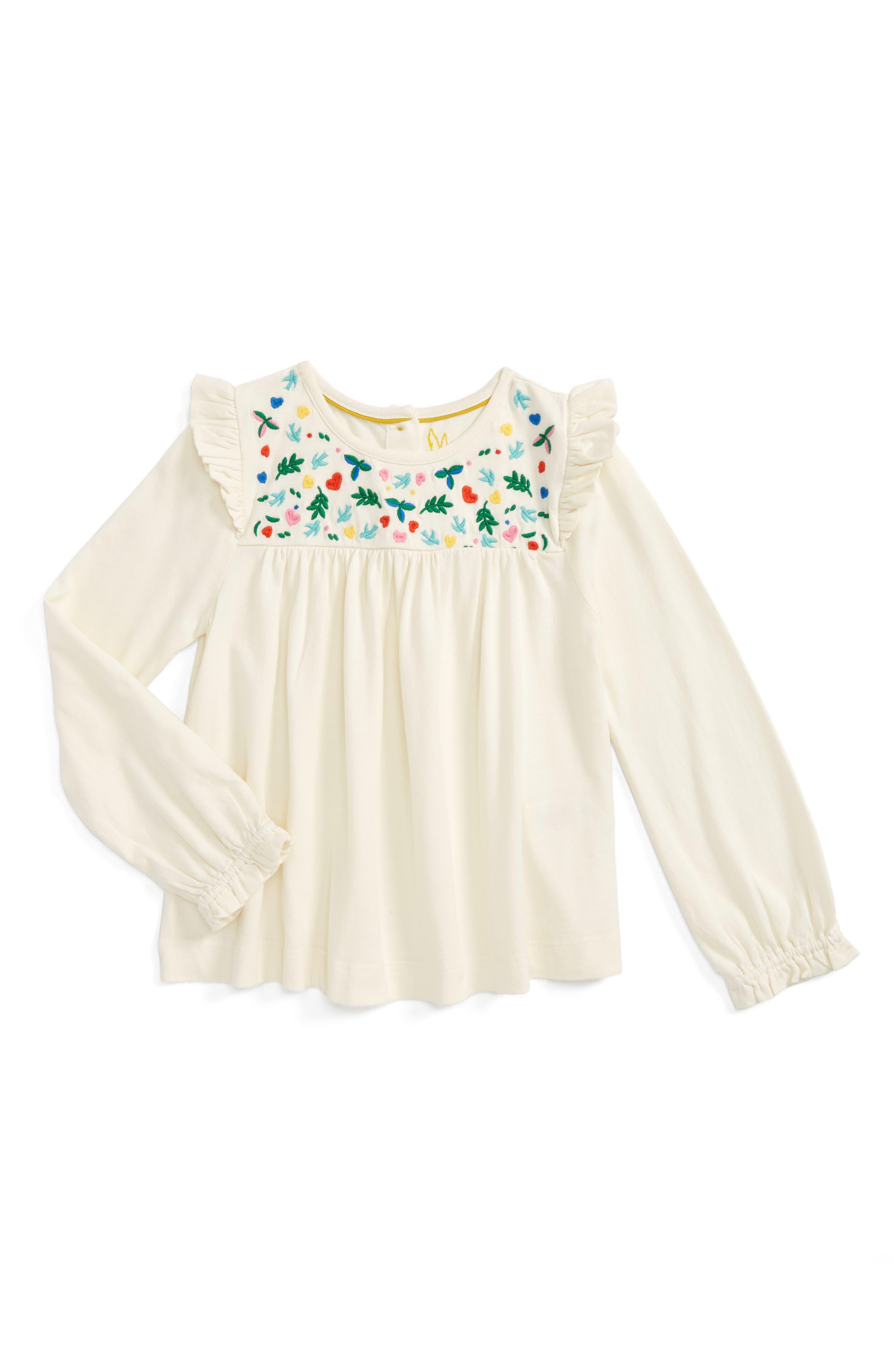 Mini Boden Pretty Embroidered Top (Toddler Girls, Little Girls & Big Girls)