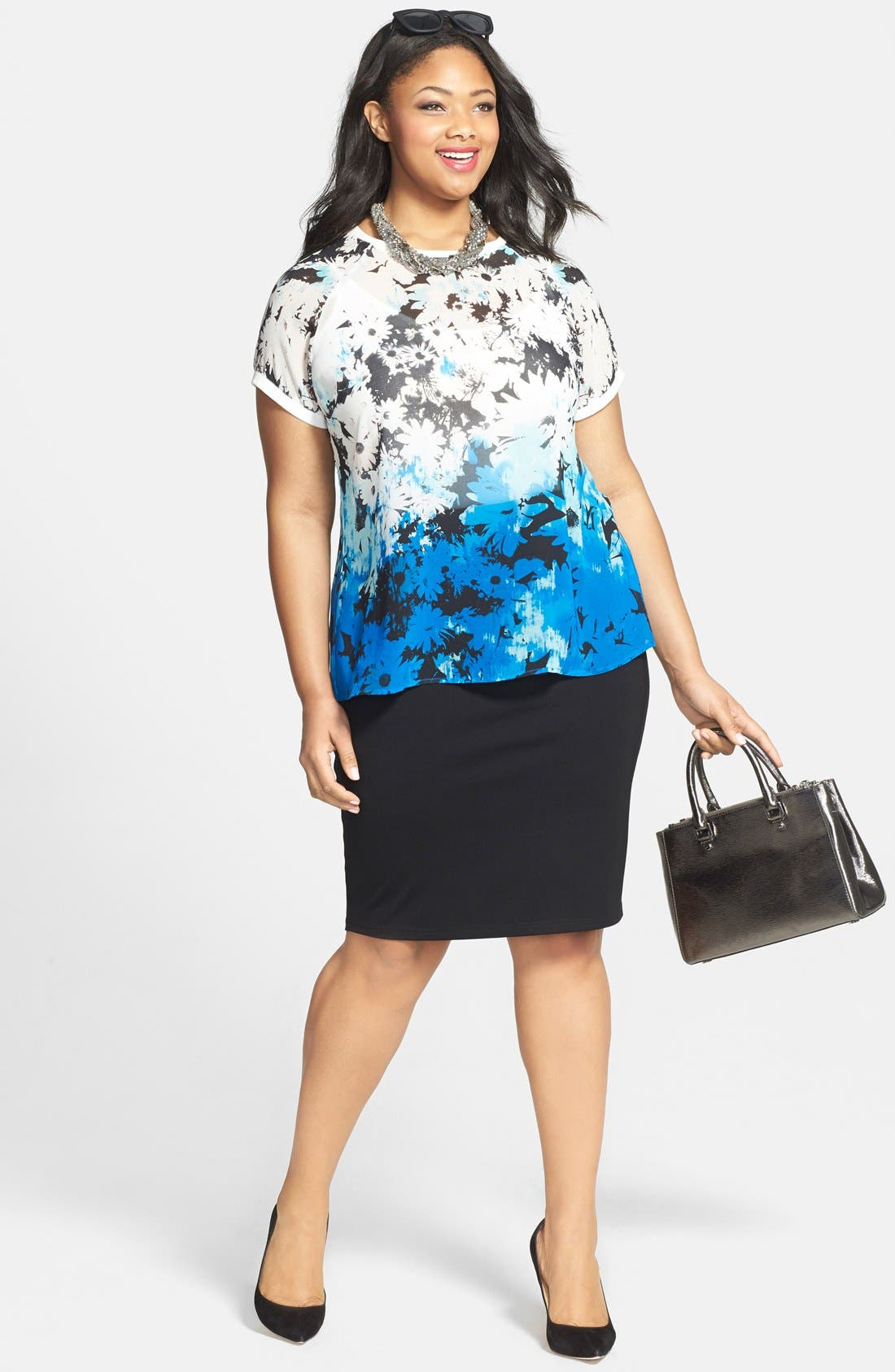 Alternate Image 4  - City Chic Back Zip Tube Skirt (Plus Size)