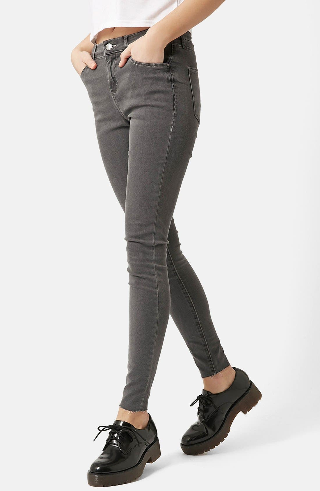 Alternate Image 1 Selected - Topshop Moto 'Leigh' Ankle Skinny Jeans (Grey) (Regular & Short)