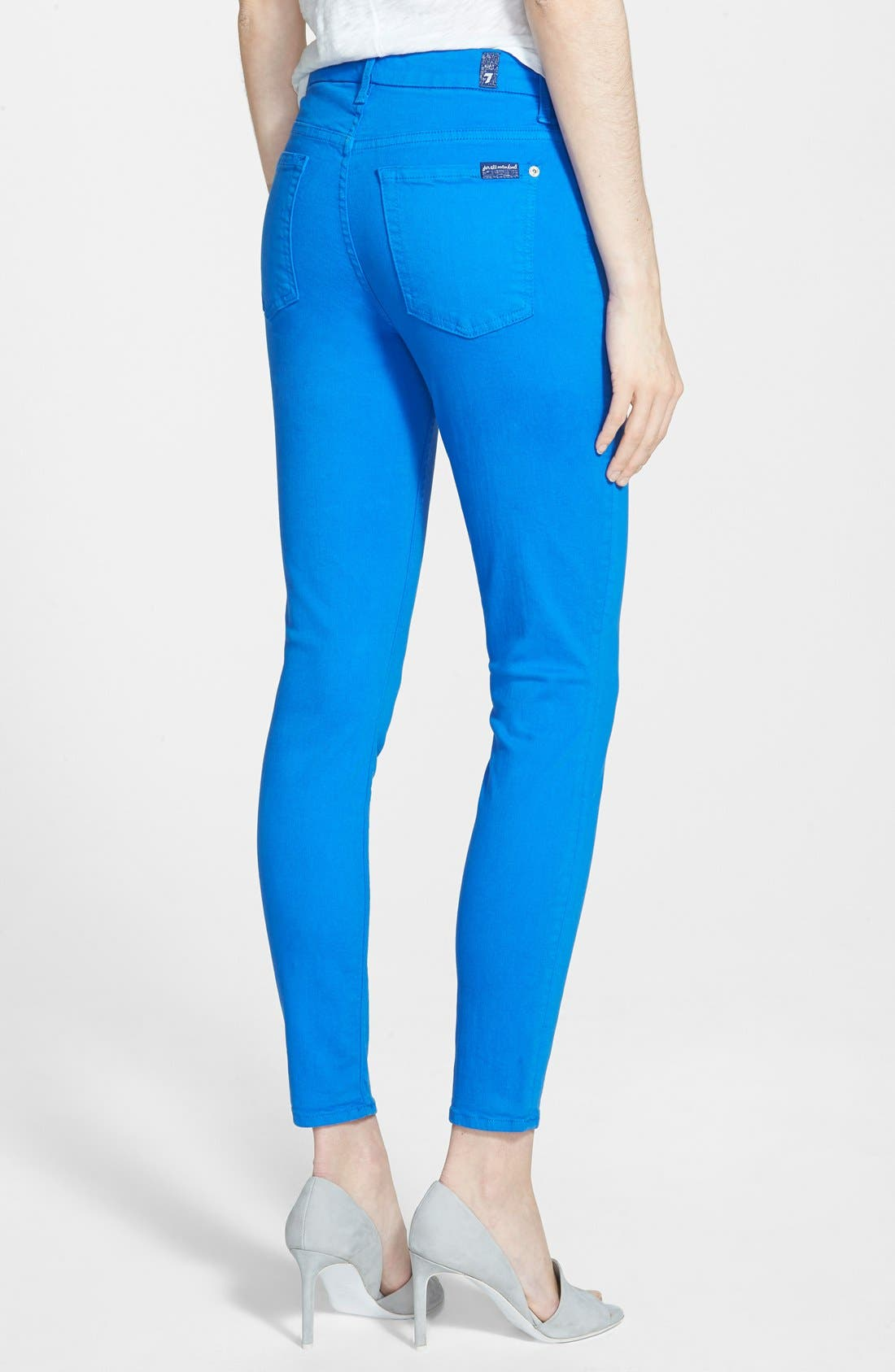 Alternate Image 2  - 7 For All Mankind® High Rise Ankle Skinny Jeans (Ultramarine)