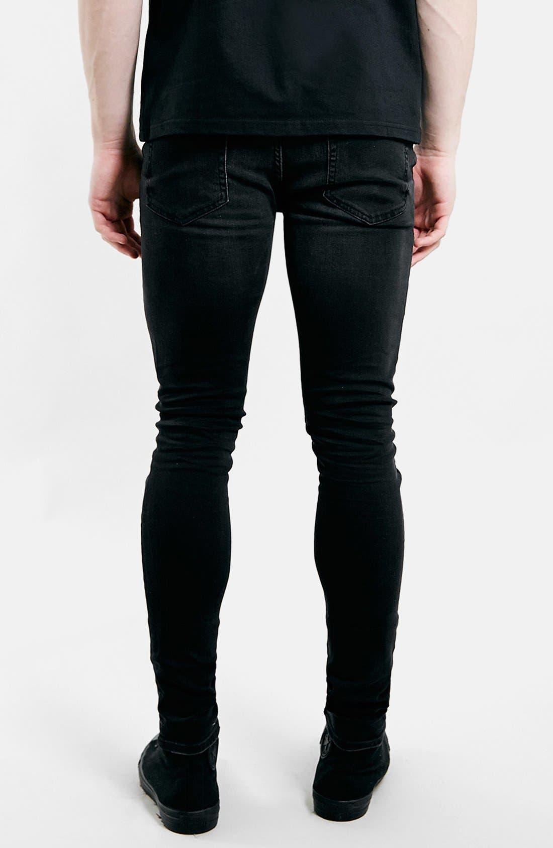 Alternate Image 3  - Topman Ripped Spray On Skinny Jeans (Black)
