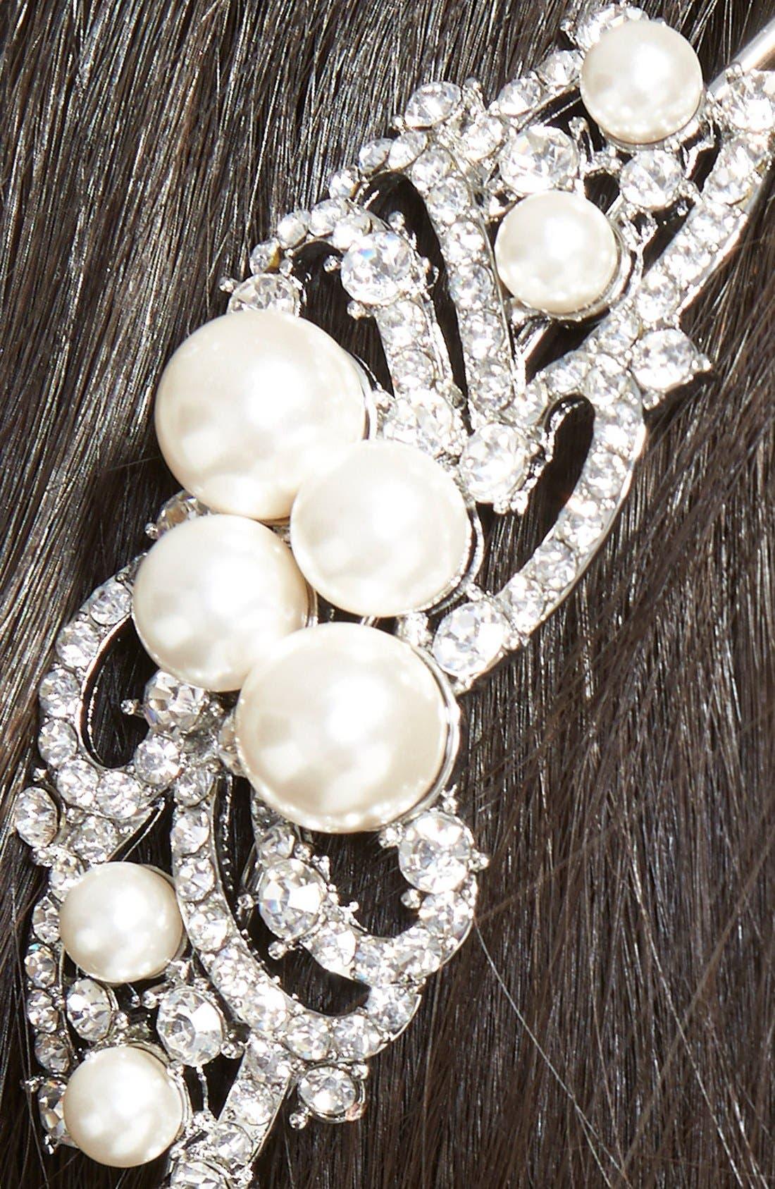 Alternate Image 2  - Nina Faux Pearl Medallion Headband