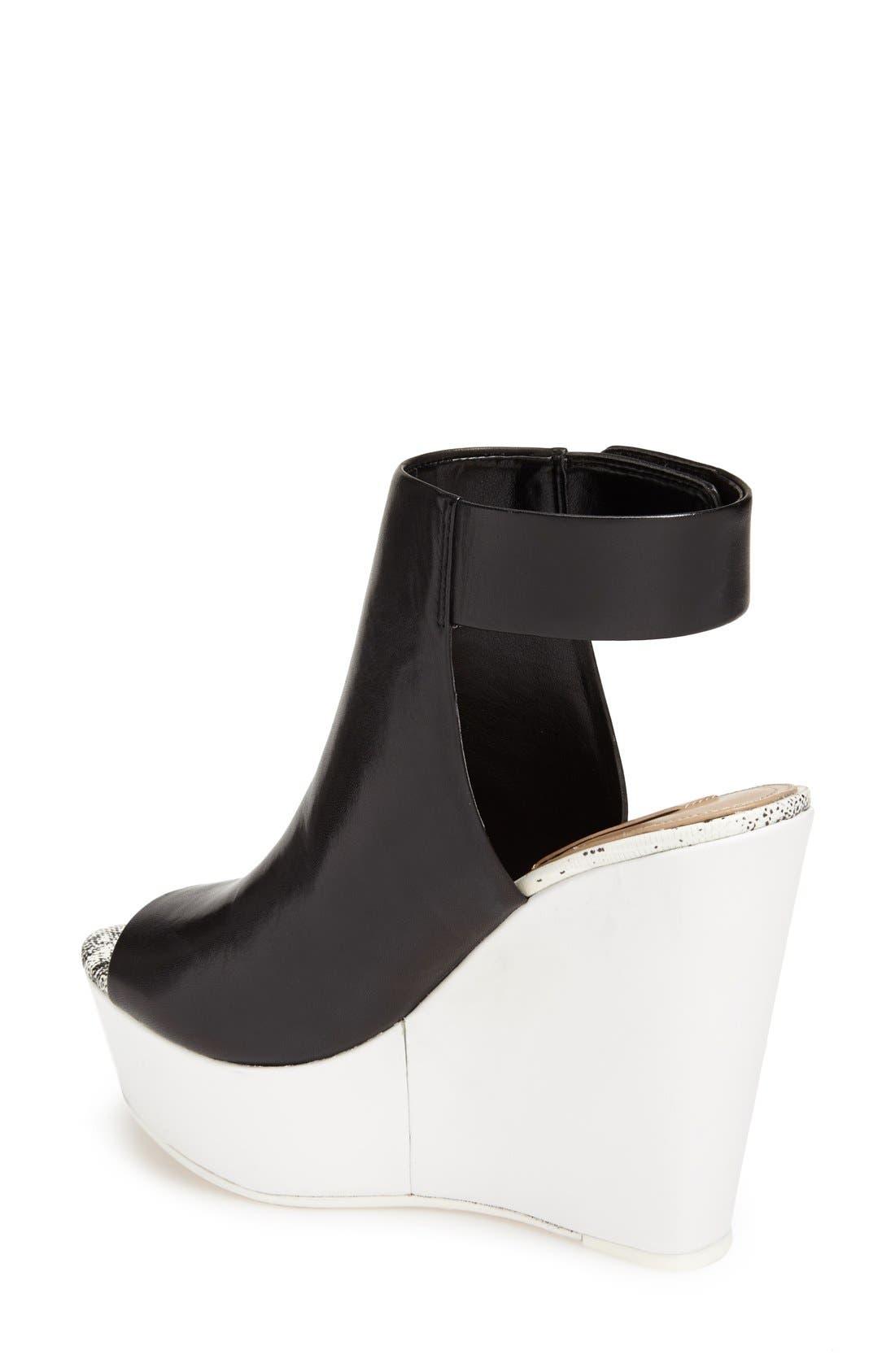 Alternate Image 2  - BCBGMAXAZRIA 'Ma-Cue' Peep Toe Leather Wedge Sandal (Women)